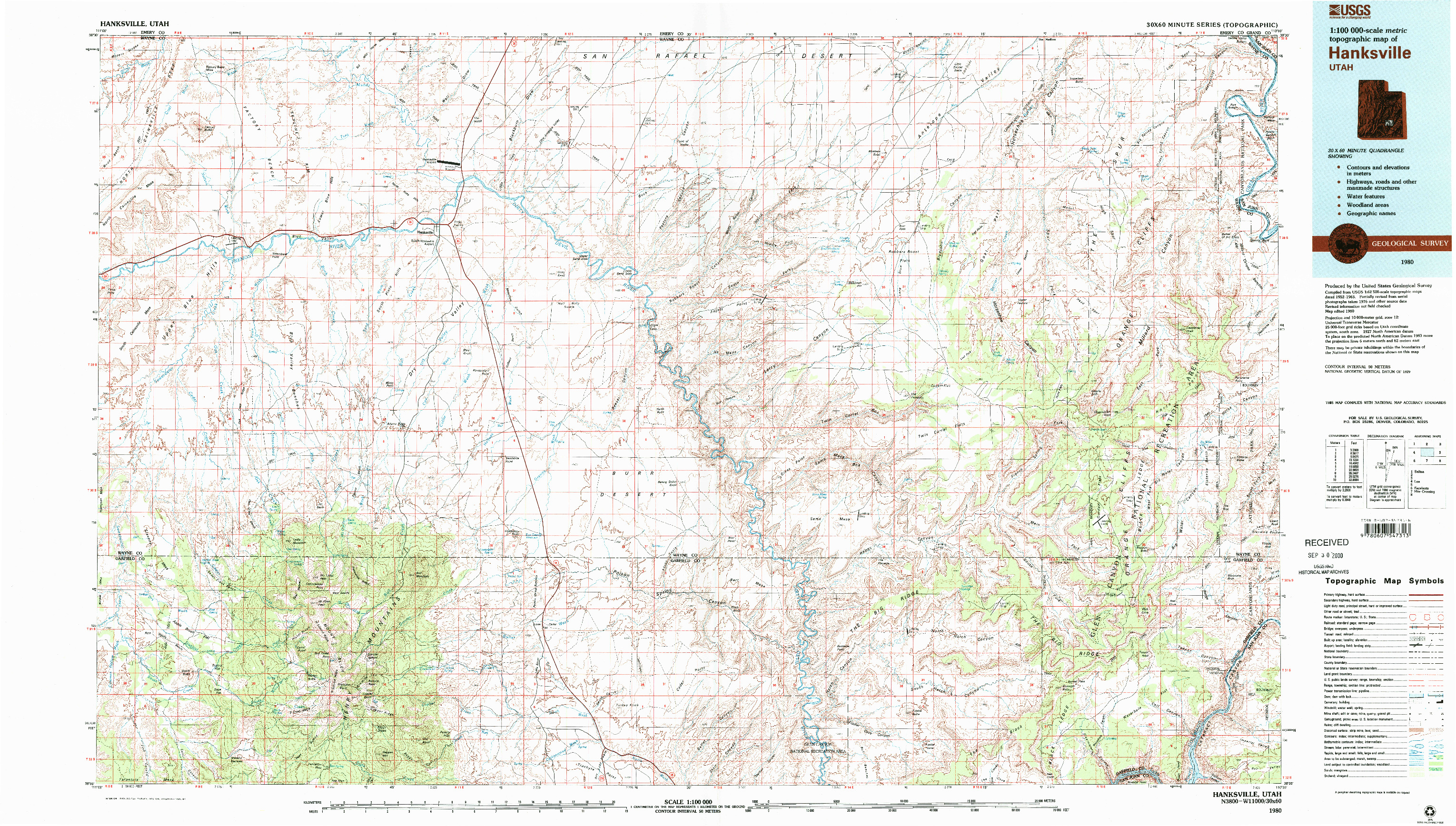 USGS 1:100000-SCALE QUADRANGLE FOR HANKSVILLE, UT 1980