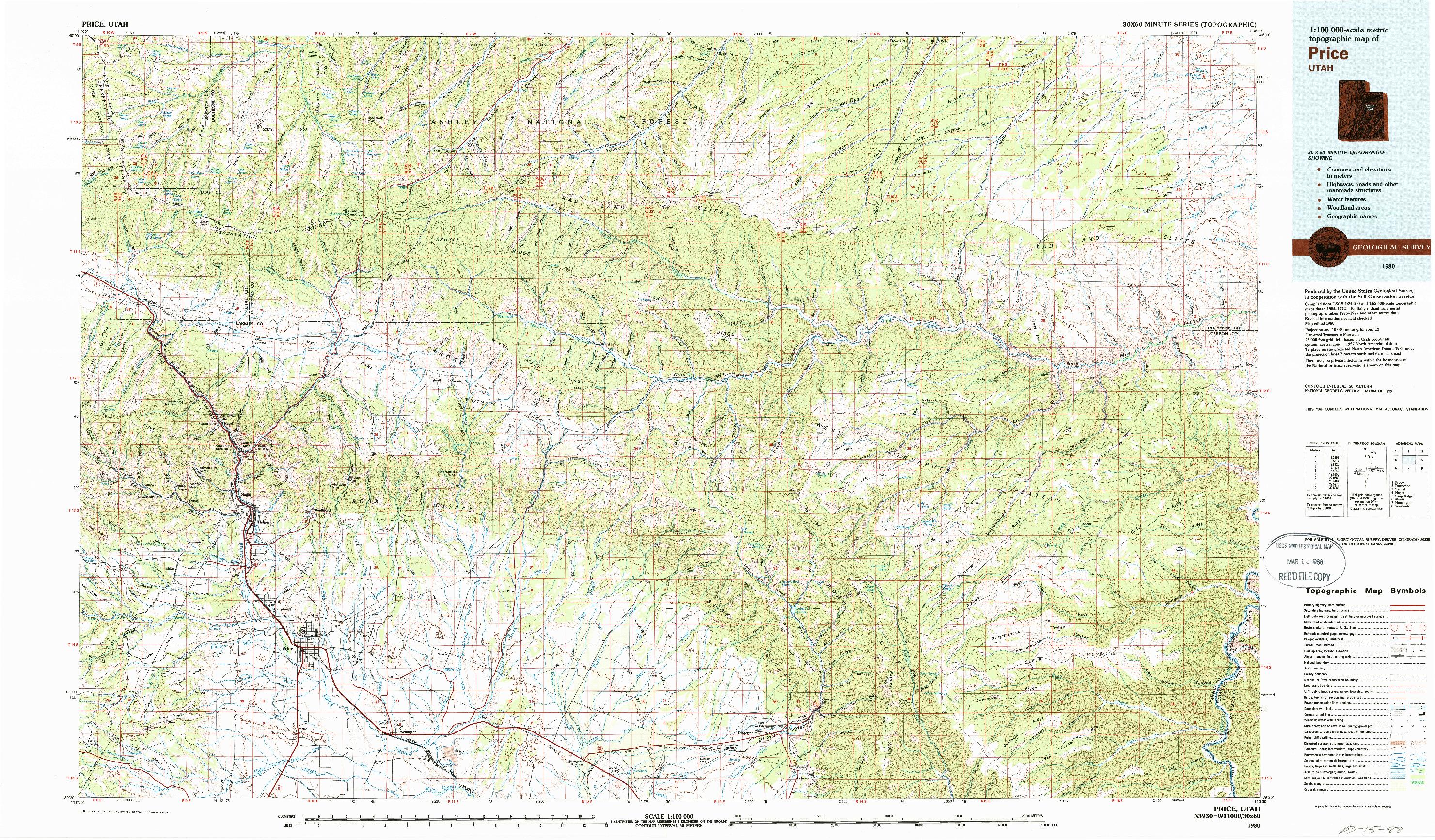 USGS 1:100000-SCALE QUADRANGLE FOR PRICE, UT 1980