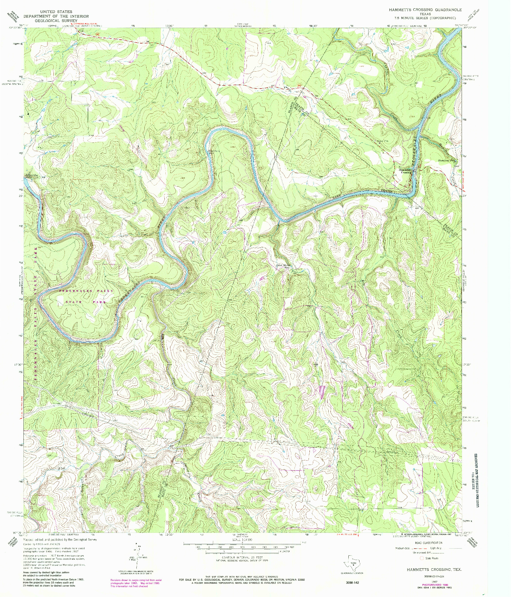 USGS 1:24000-SCALE QUADRANGLE FOR HAMMETTS CROSSING, TX 1967
