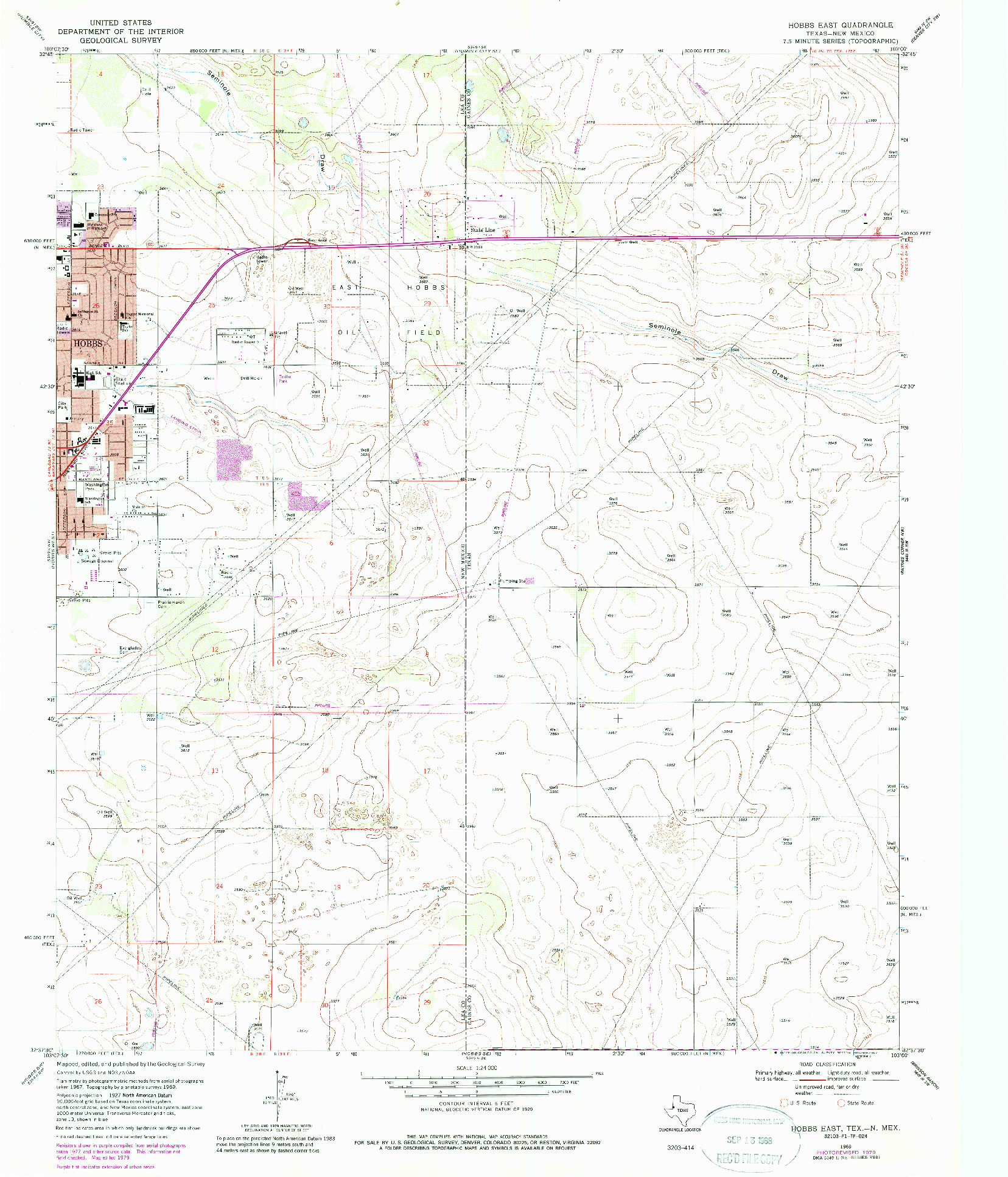 USGS 1:24000-SCALE QUADRANGLE FOR HOBBS EAST, TX 1969