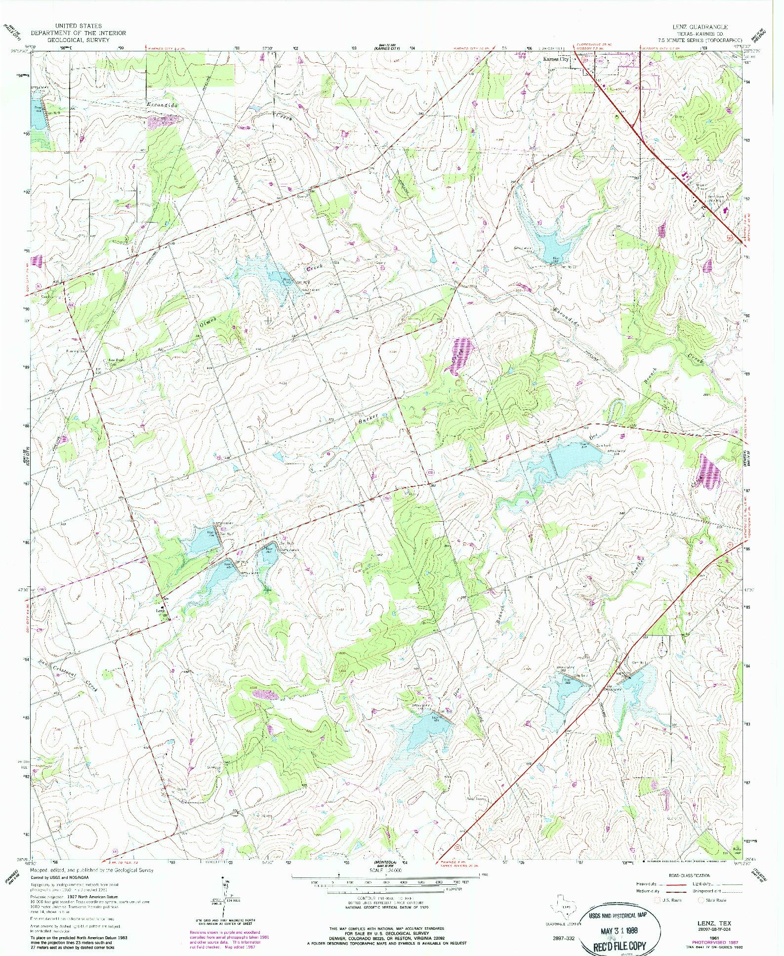 USGS 1:24000-SCALE QUADRANGLE FOR LENZ, TX 1961