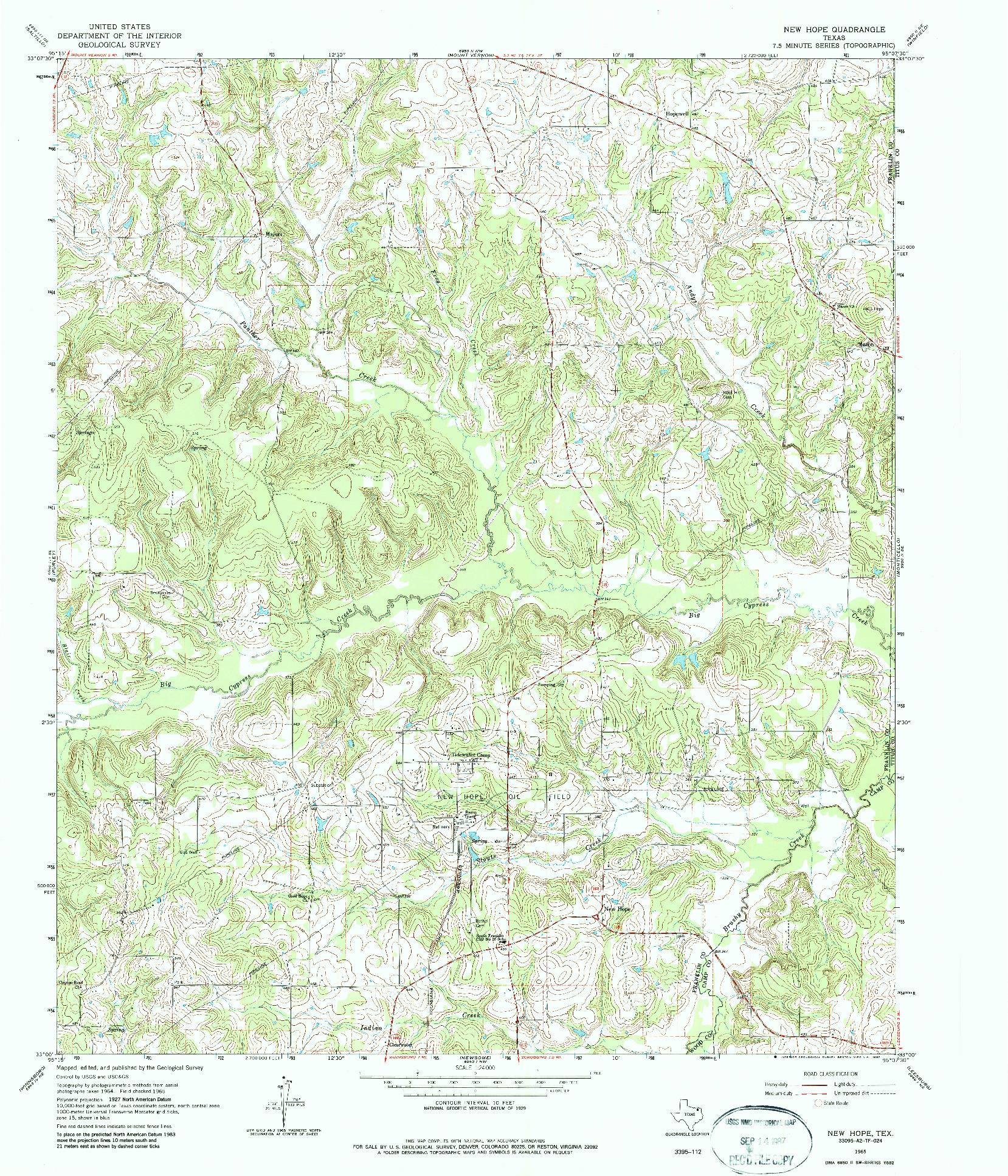 USGS 1:24000-SCALE QUADRANGLE FOR NEW HOPE, TX 1965