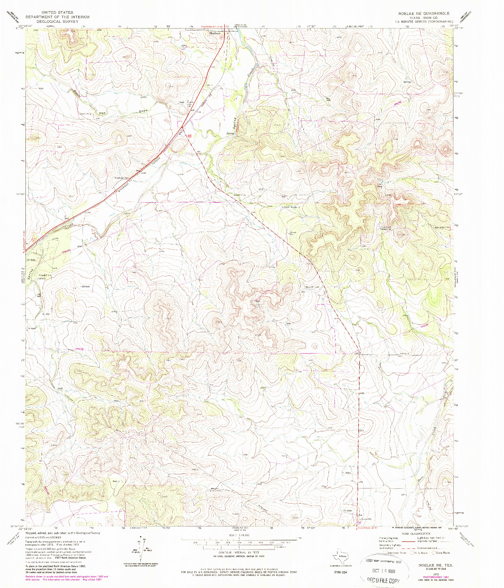 USGS 1:24000-SCALE QUADRANGLE FOR NOELKE NE, TX 1972