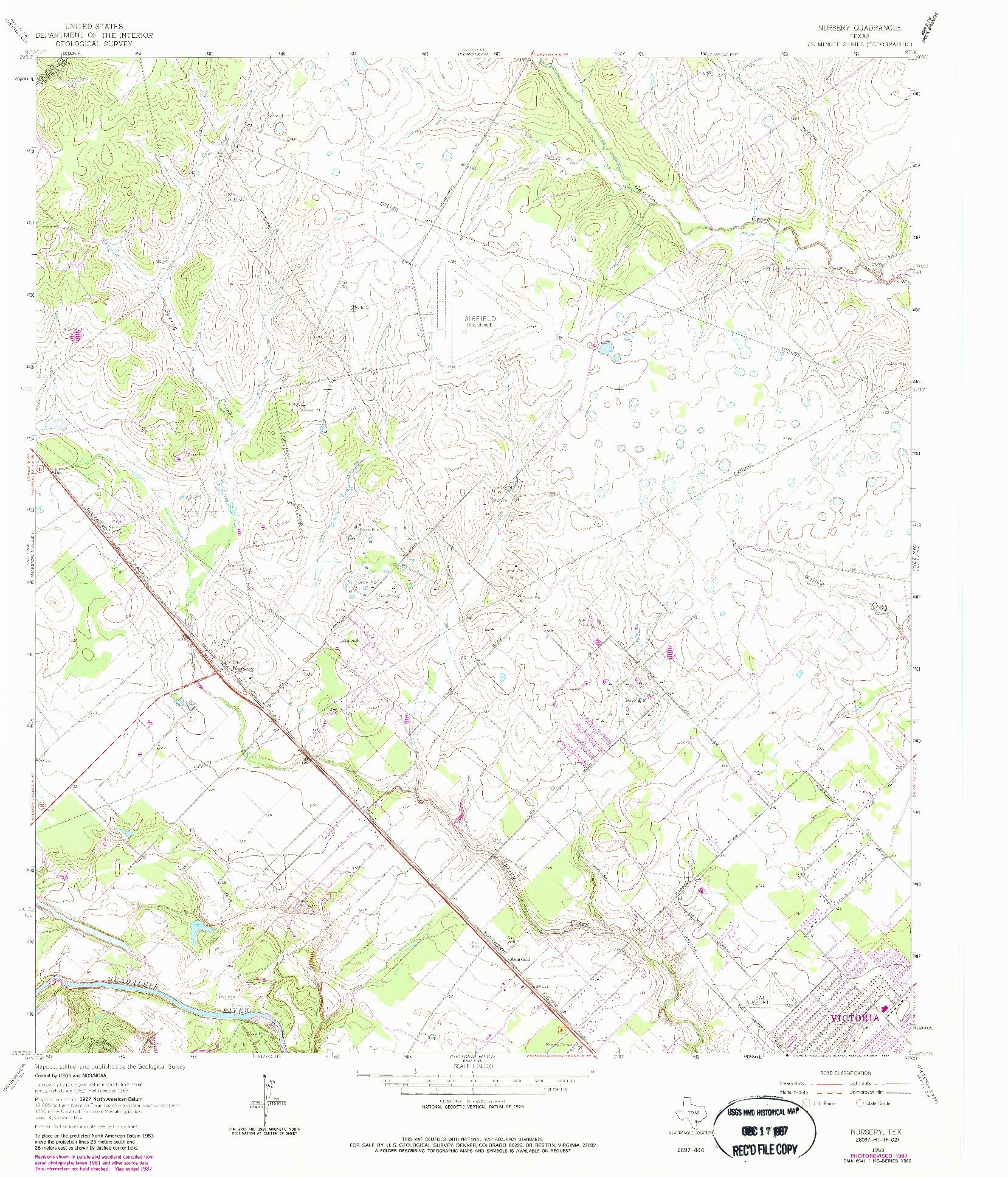 USGS 1:24000-SCALE QUADRANGLE FOR NURSERY, TX 1963
