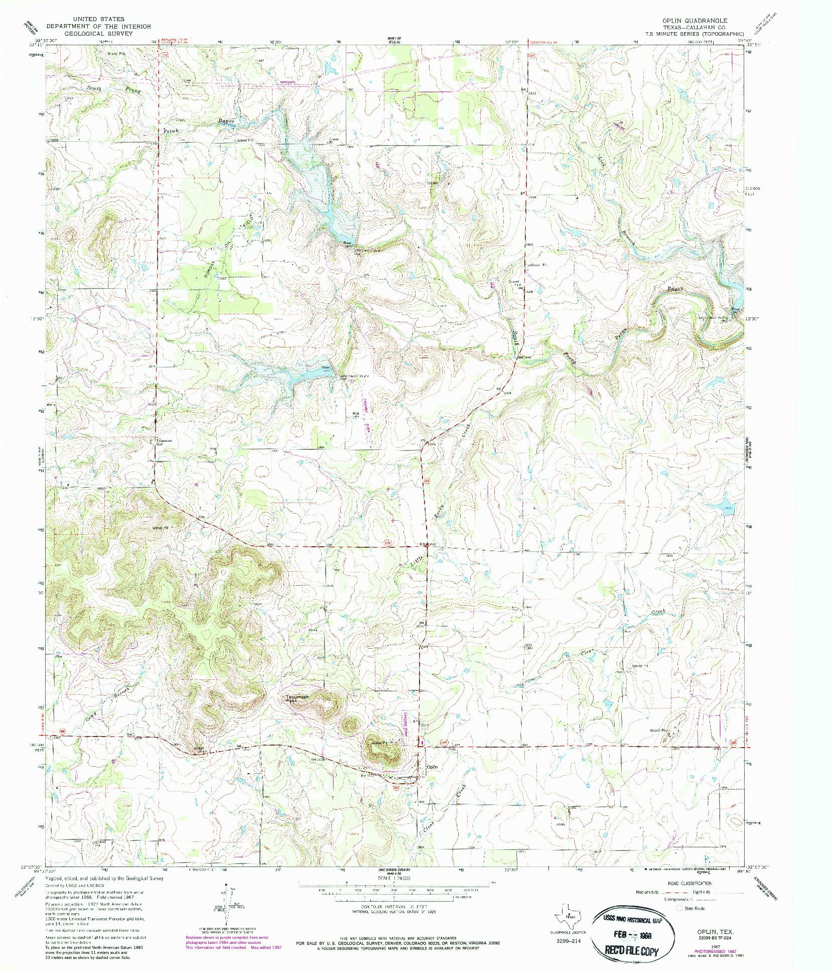 USGS 1:24000-SCALE QUADRANGLE FOR OPLIN, TX 1967