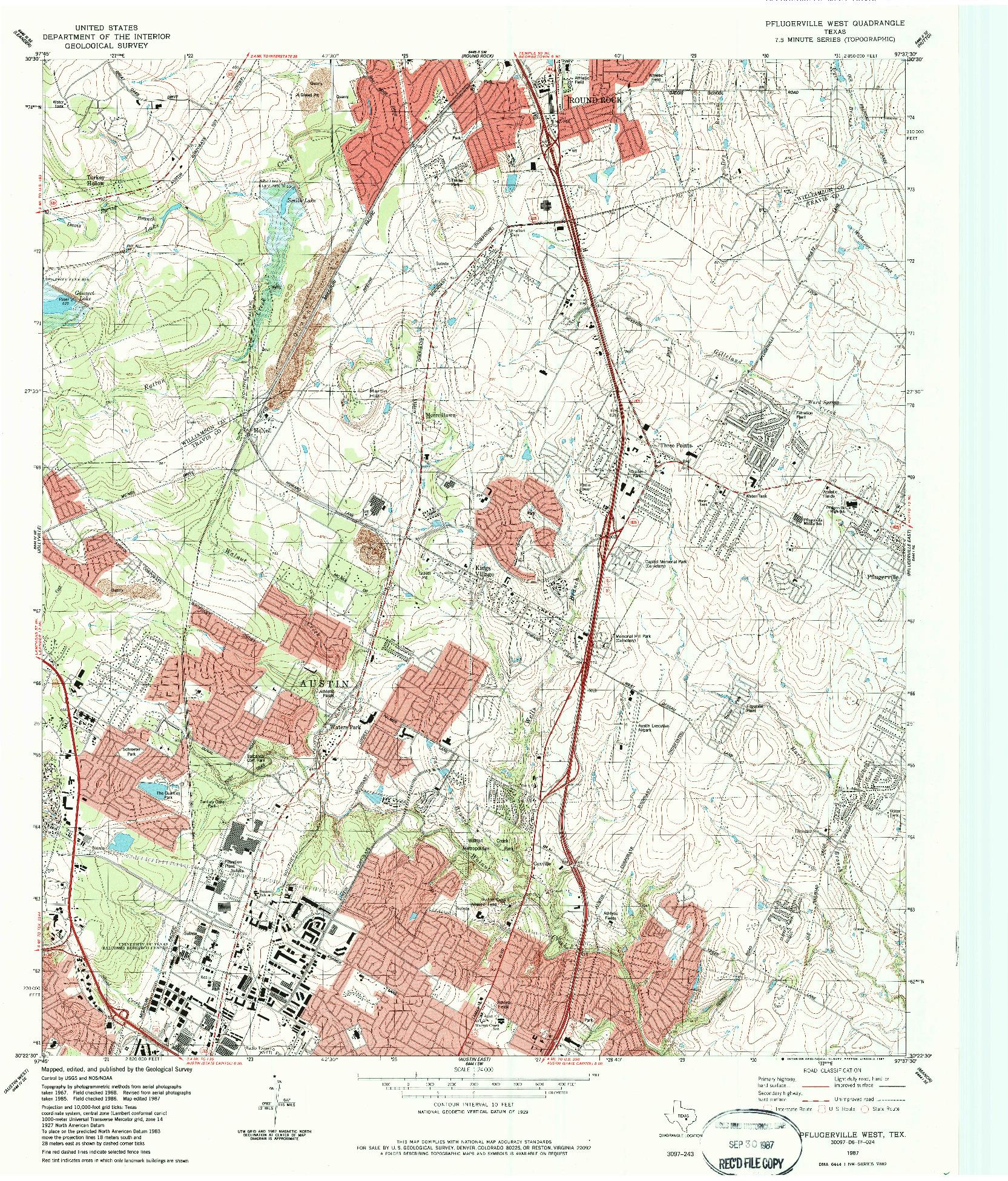 USGS 1:24000-SCALE QUADRANGLE FOR PFLUGERVILLE WEST, TX 1987