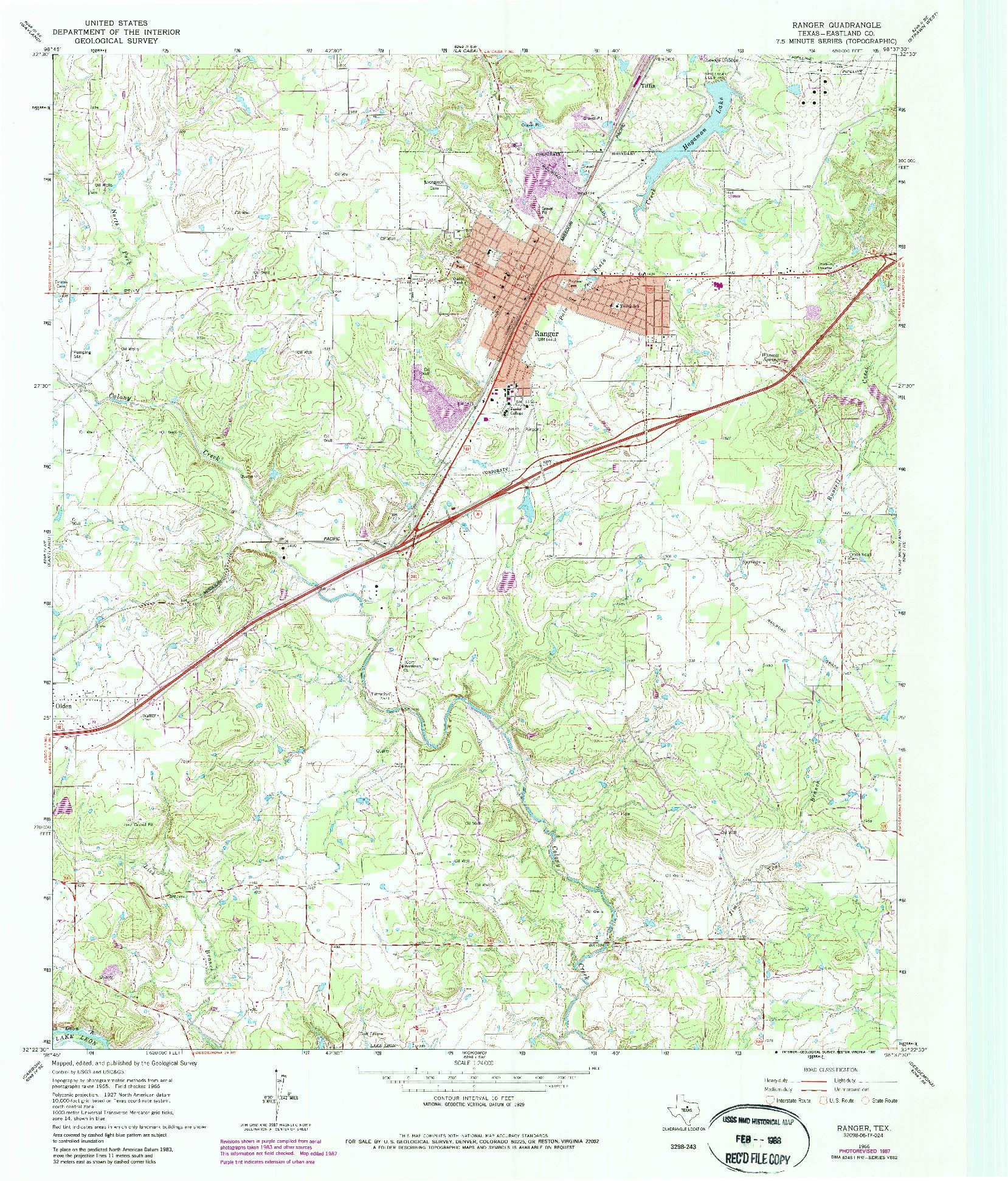 USGS 1:24000-SCALE QUADRANGLE FOR RANGER, TX 1966