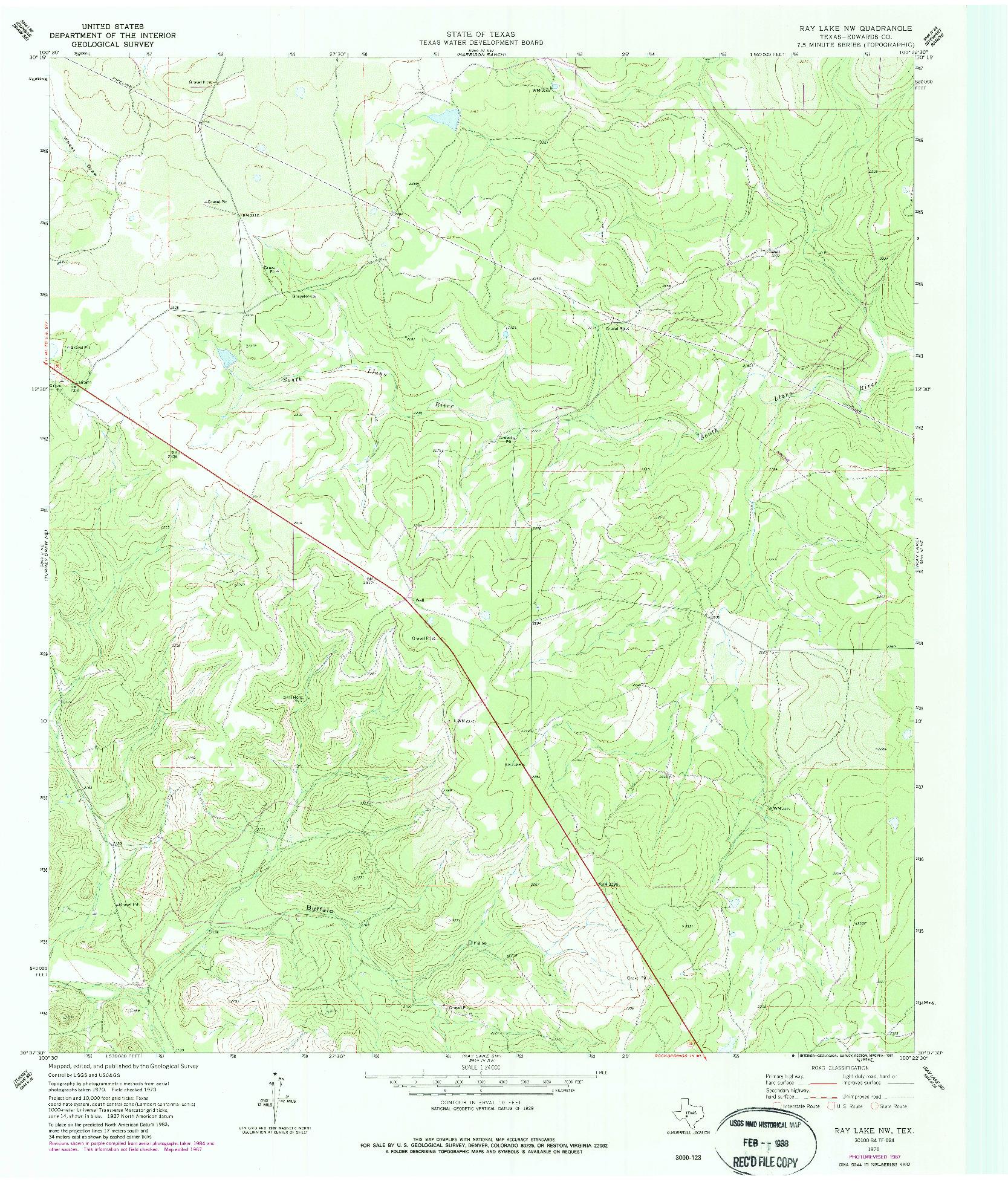 USGS 1:24000-SCALE QUADRANGLE FOR RAY LAKE NW, TX 1970
