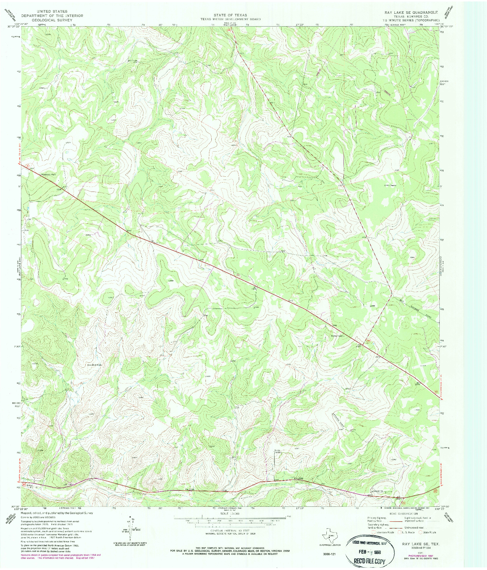 USGS 1:24000-SCALE QUADRANGLE FOR RAY LAKE SE, TX 1971