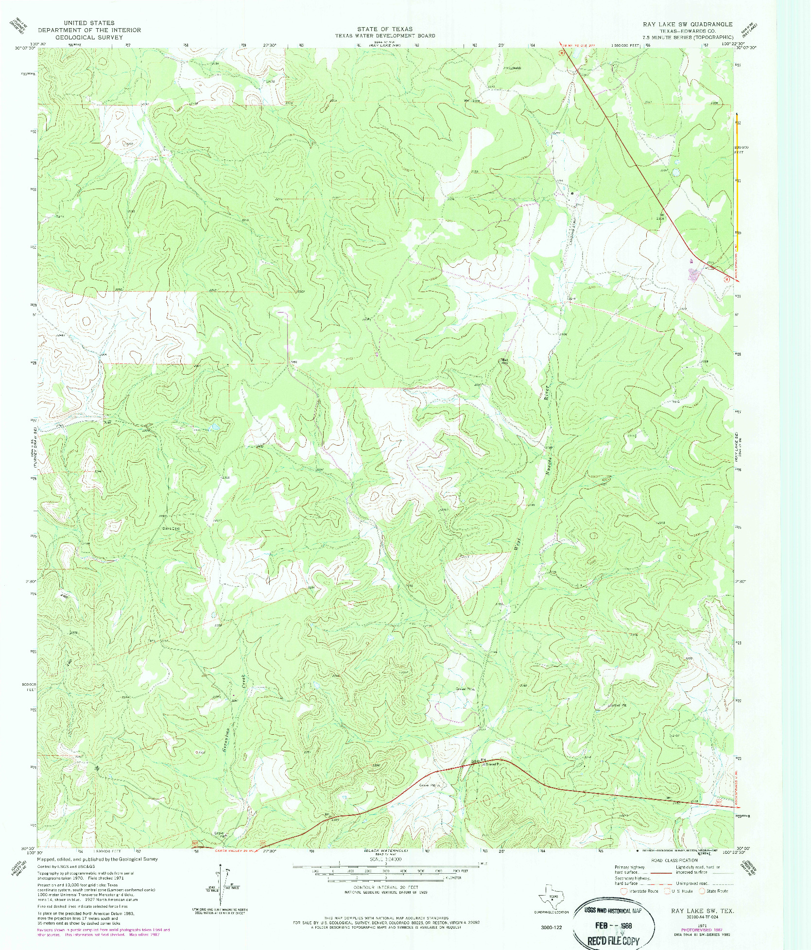 USGS 1:24000-SCALE QUADRANGLE FOR RAY LAKE SW, TX 1971
