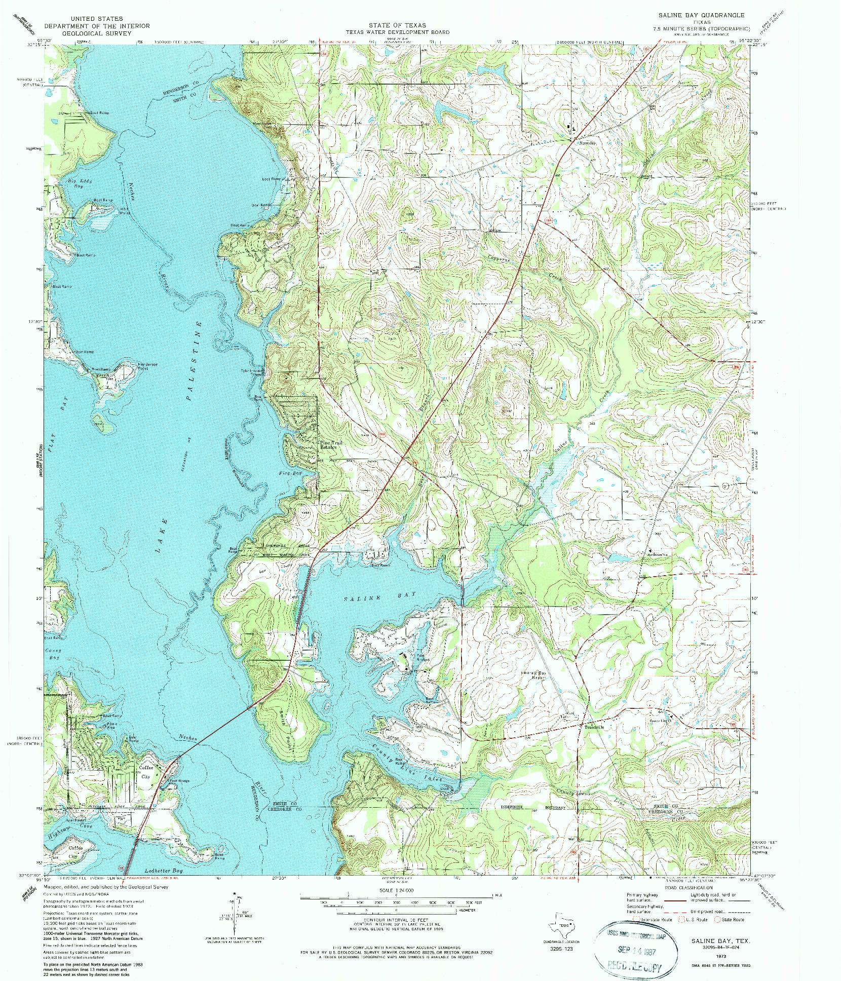 USGS 1:24000-SCALE QUADRANGLE FOR SALINE BAY, TX 1973
