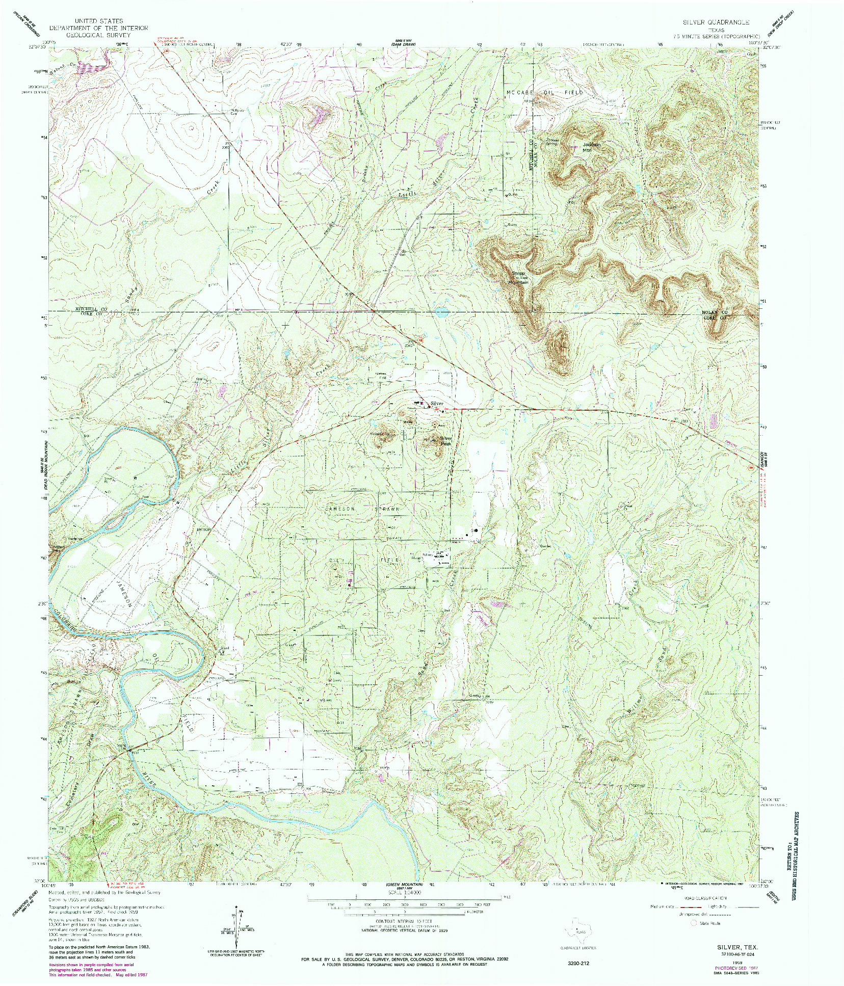 USGS 1:24000-SCALE QUADRANGLE FOR SILVER, TX 1959