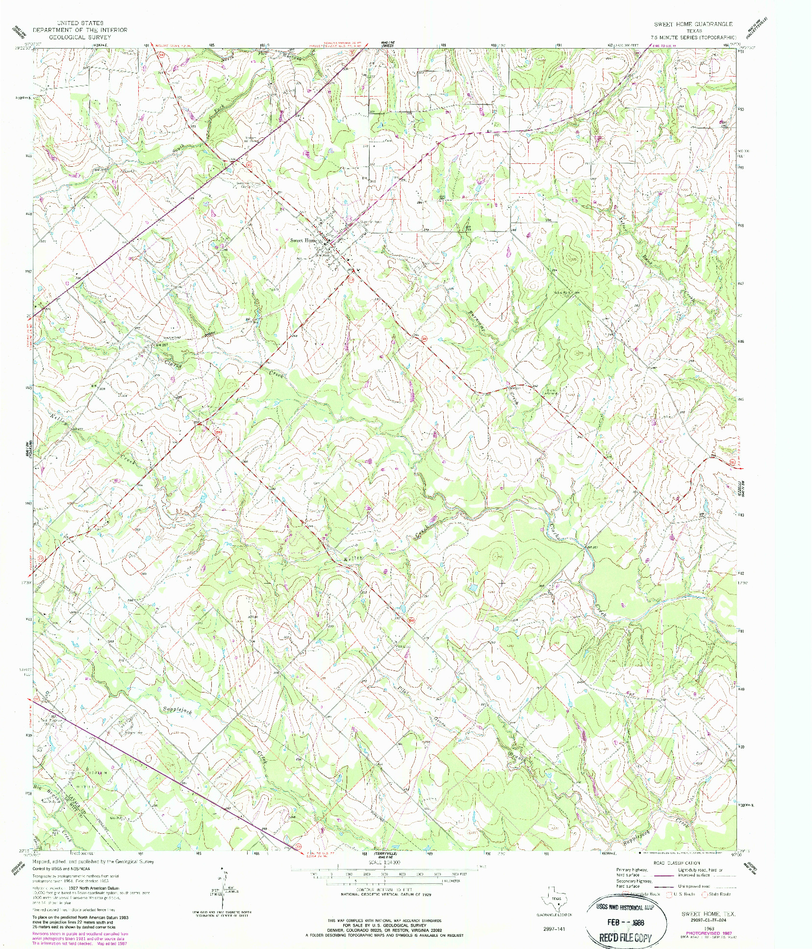 USGS 1:24000-SCALE QUADRANGLE FOR SWEET HOME, TX 1963