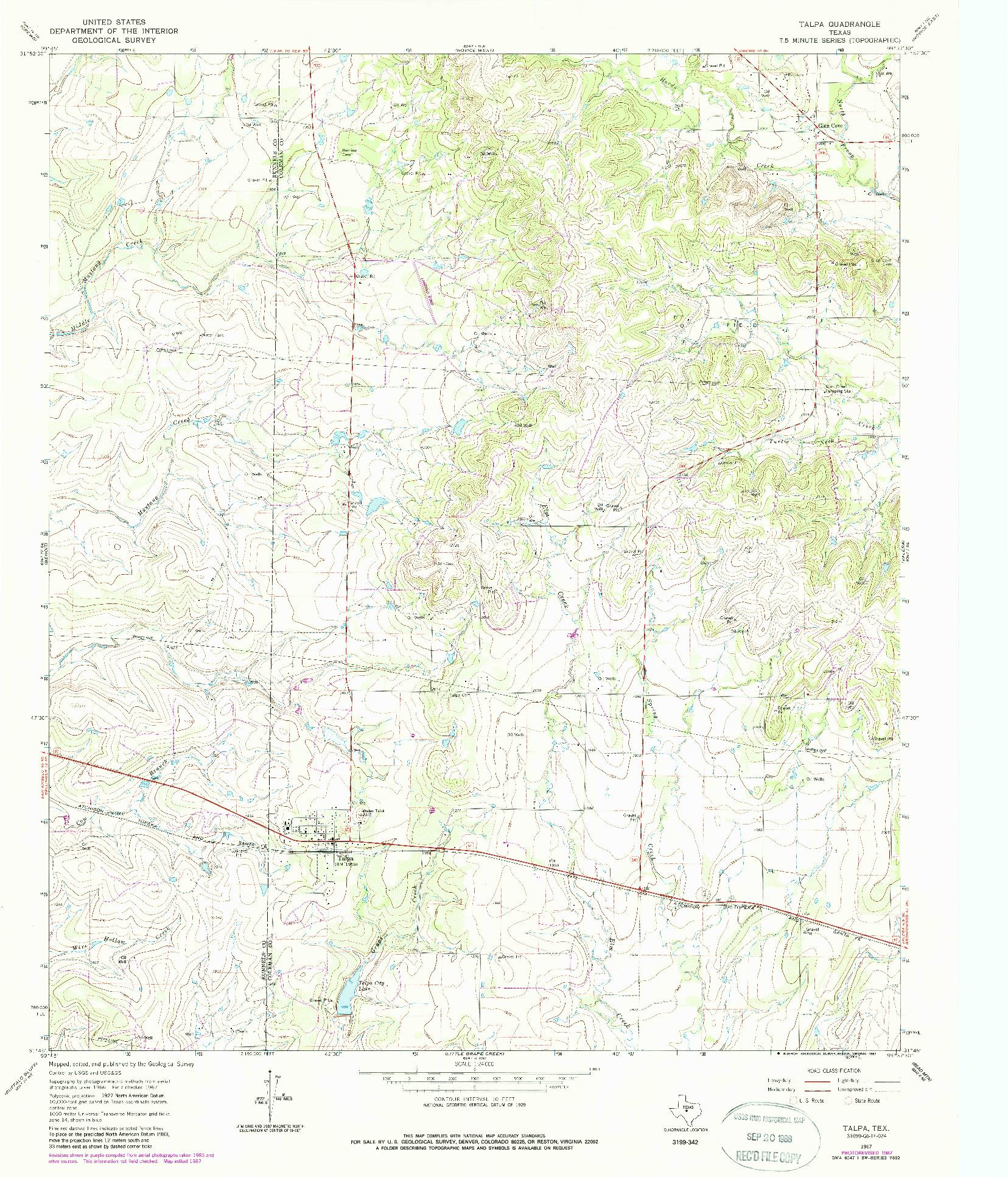 USGS 1:24000-SCALE QUADRANGLE FOR TALPA, TX 1967