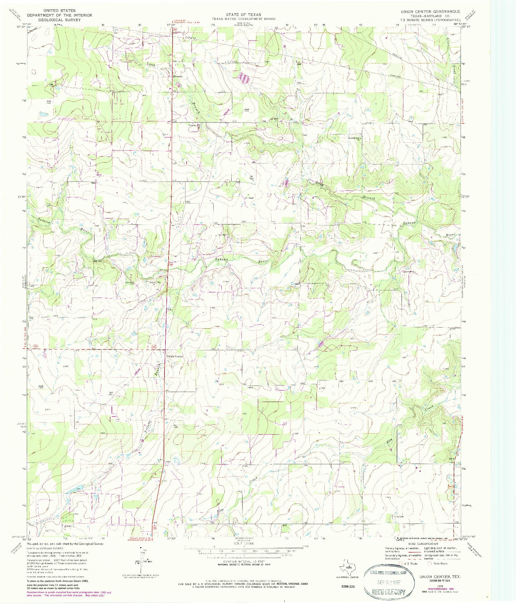 USGS 1:24000-SCALE QUADRANGLE FOR UNION CENTER, TX 1969