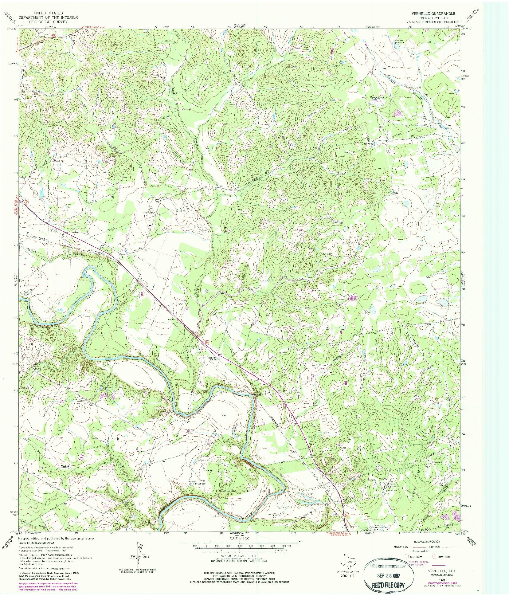 USGS 1:24000-SCALE QUADRANGLE FOR VERHELLE, TX 1962