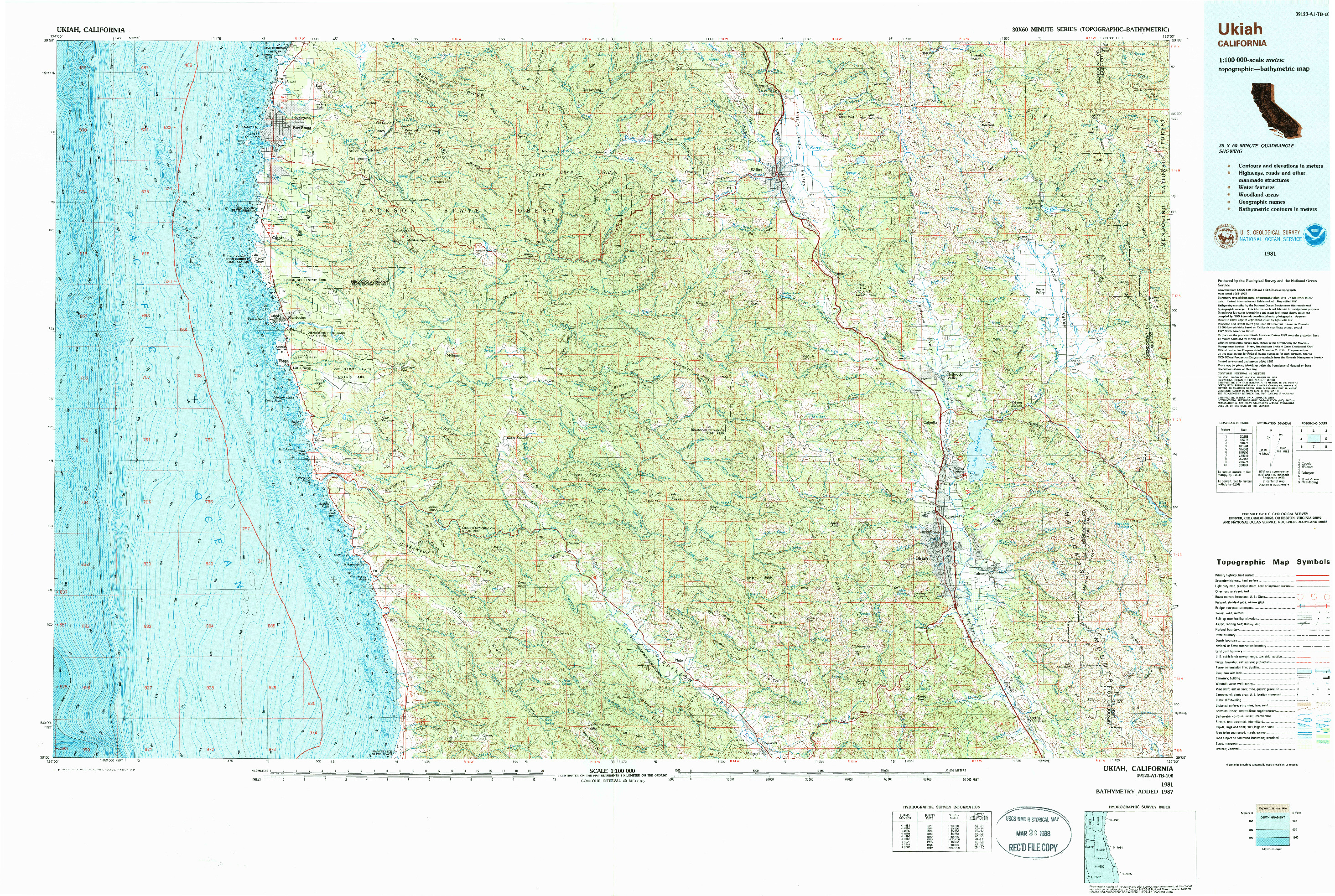 USGS 1:100000-SCALE QUADRANGLE FOR UKIAH, CA 1981