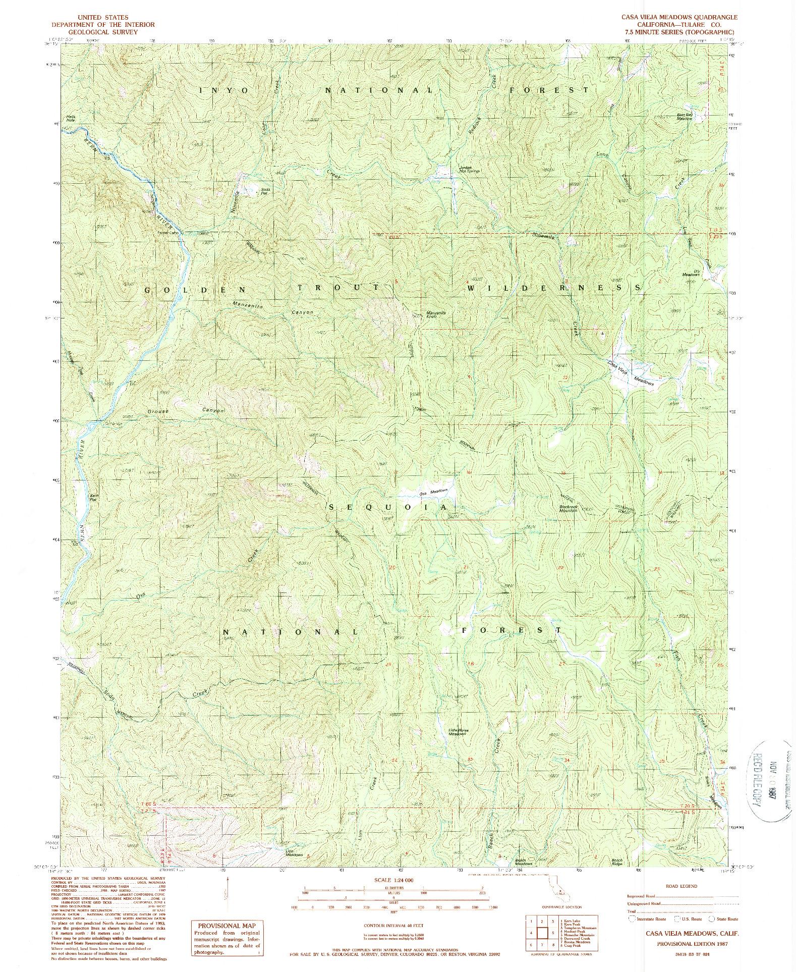 USGS 1:24000-SCALE QUADRANGLE FOR CASA VIEJA MEADOWS, CA 1987