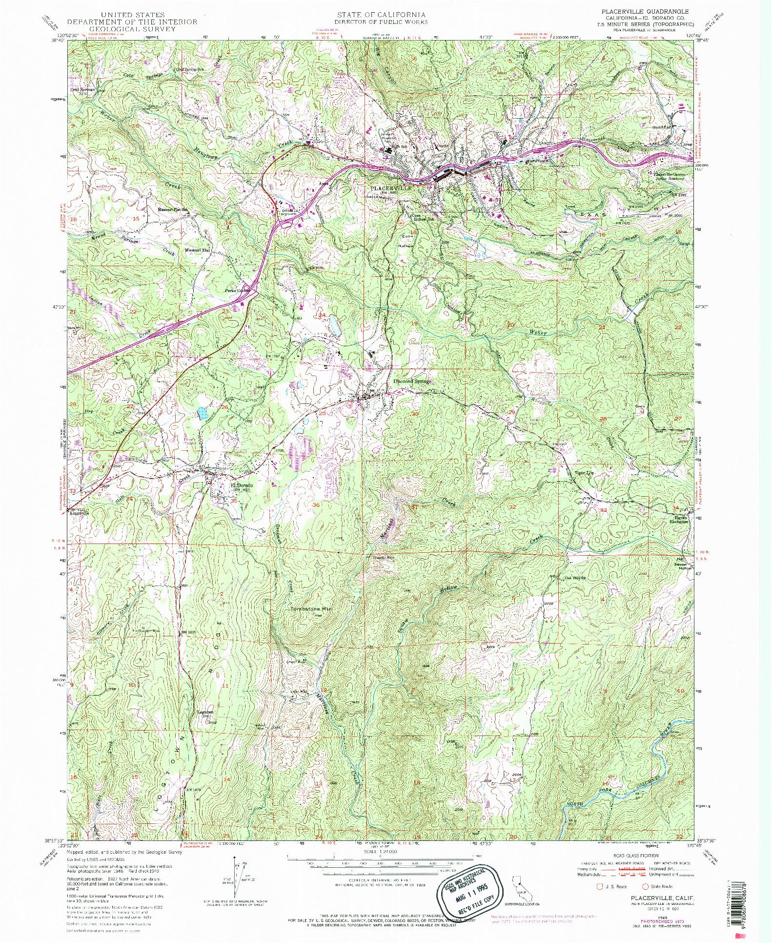 USGS 1:24000-SCALE QUADRANGLE FOR PLACERVILLE, CA 1949