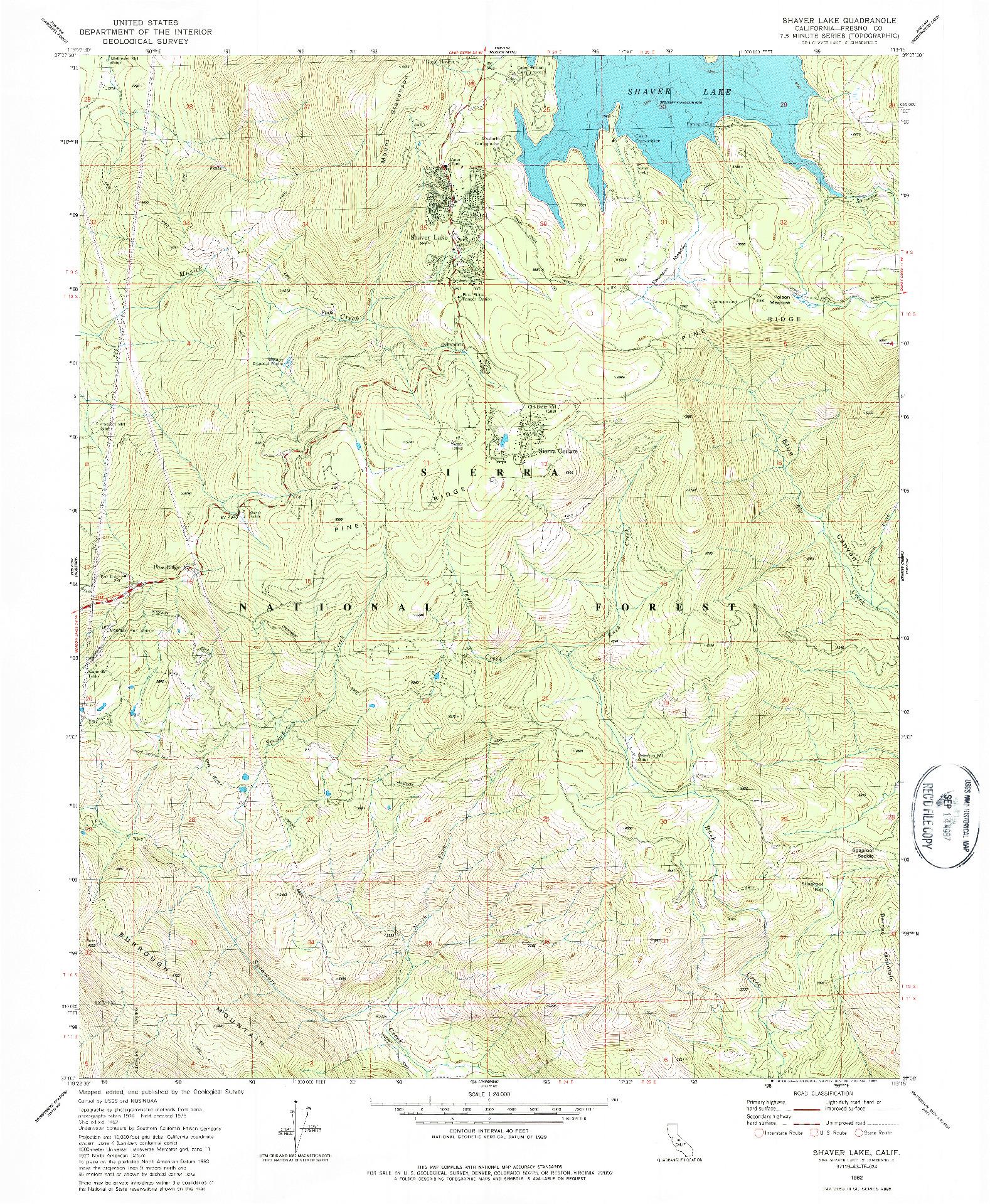 USGS 1:24000-SCALE QUADRANGLE FOR SHAVER LAKE, CA 1982