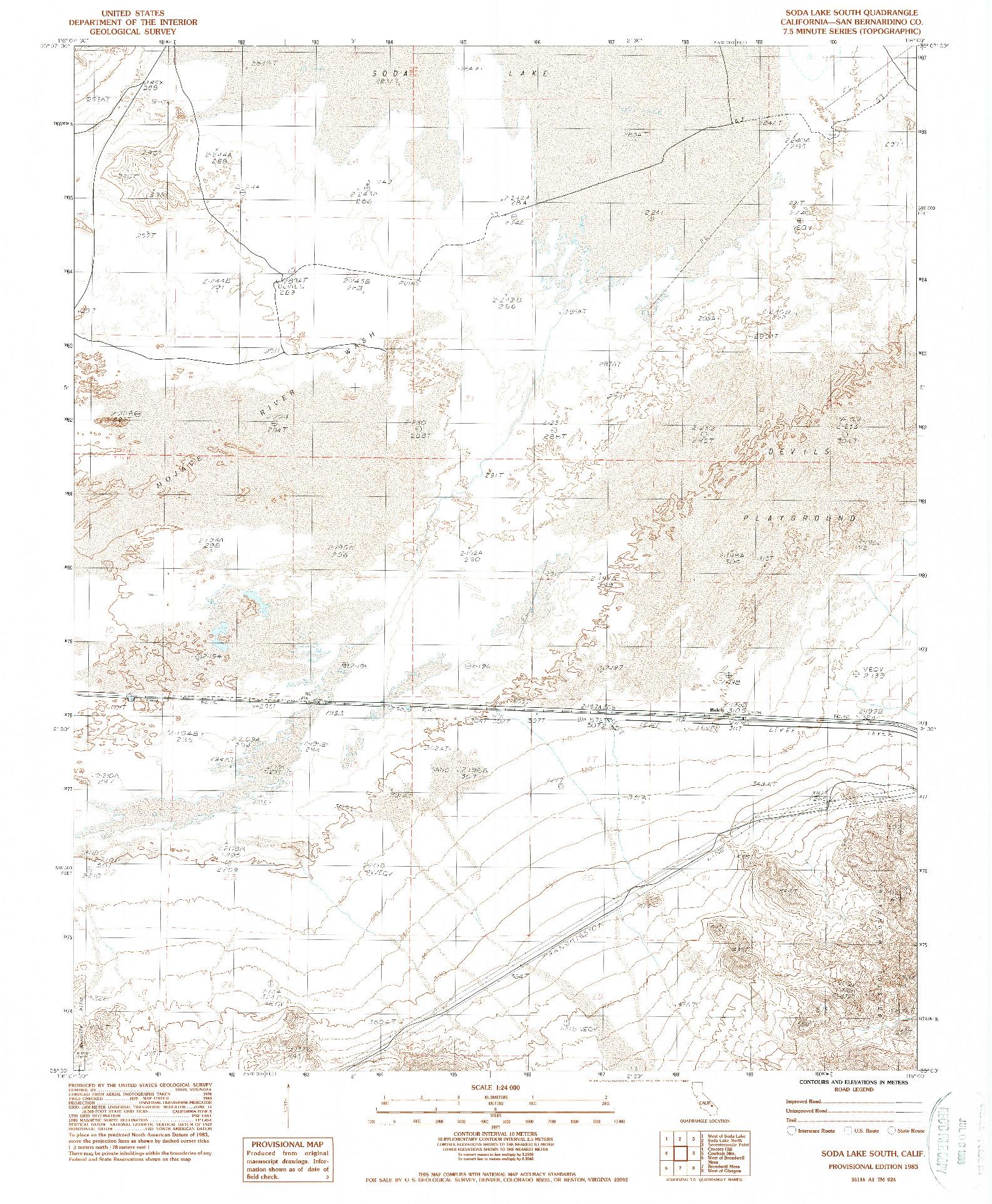 USGS 1:24000-SCALE QUADRANGLE FOR SODA LAKE SOUTH, CA 1983