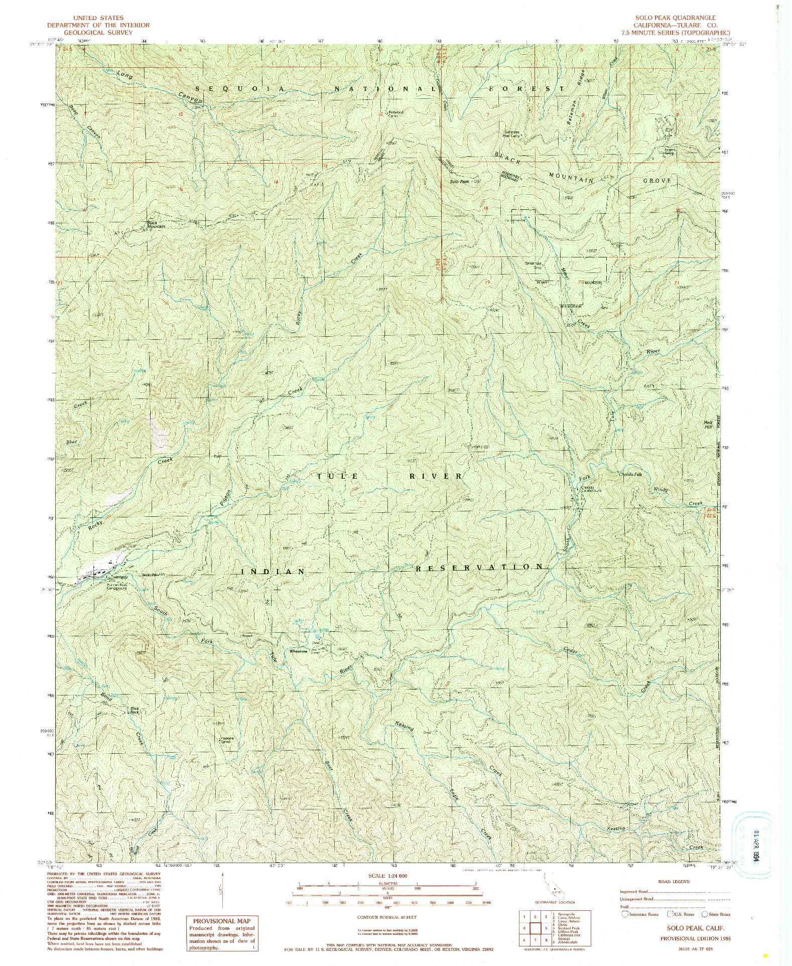 USGS 1:24000-SCALE QUADRANGLE FOR SOLO PEAK, CA 1986