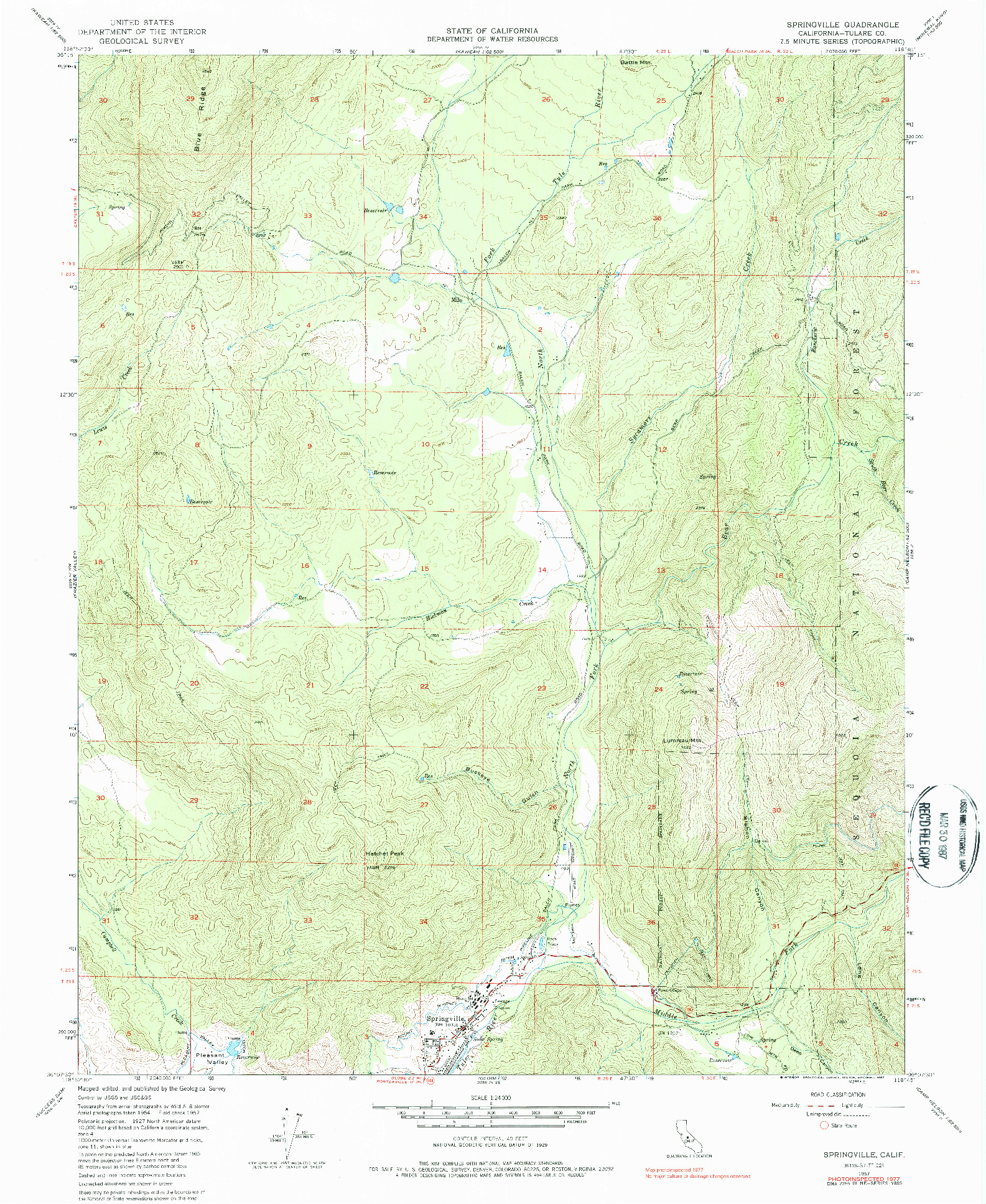 USGS 1:24000-SCALE QUADRANGLE FOR SPRINGVILLE, CA 1977