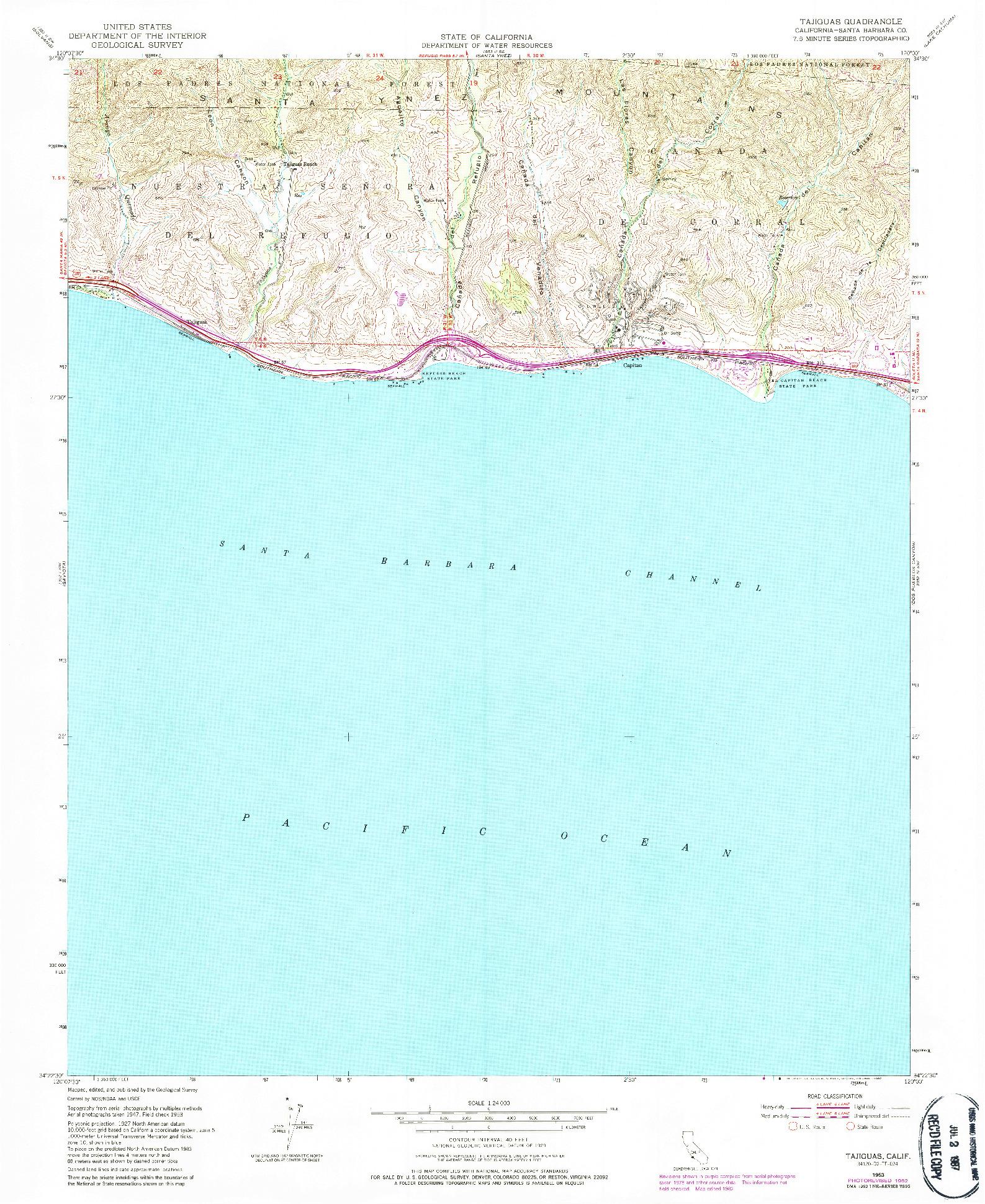 USGS 1:24000-SCALE QUADRANGLE FOR TAJIGUAS, CA 1953