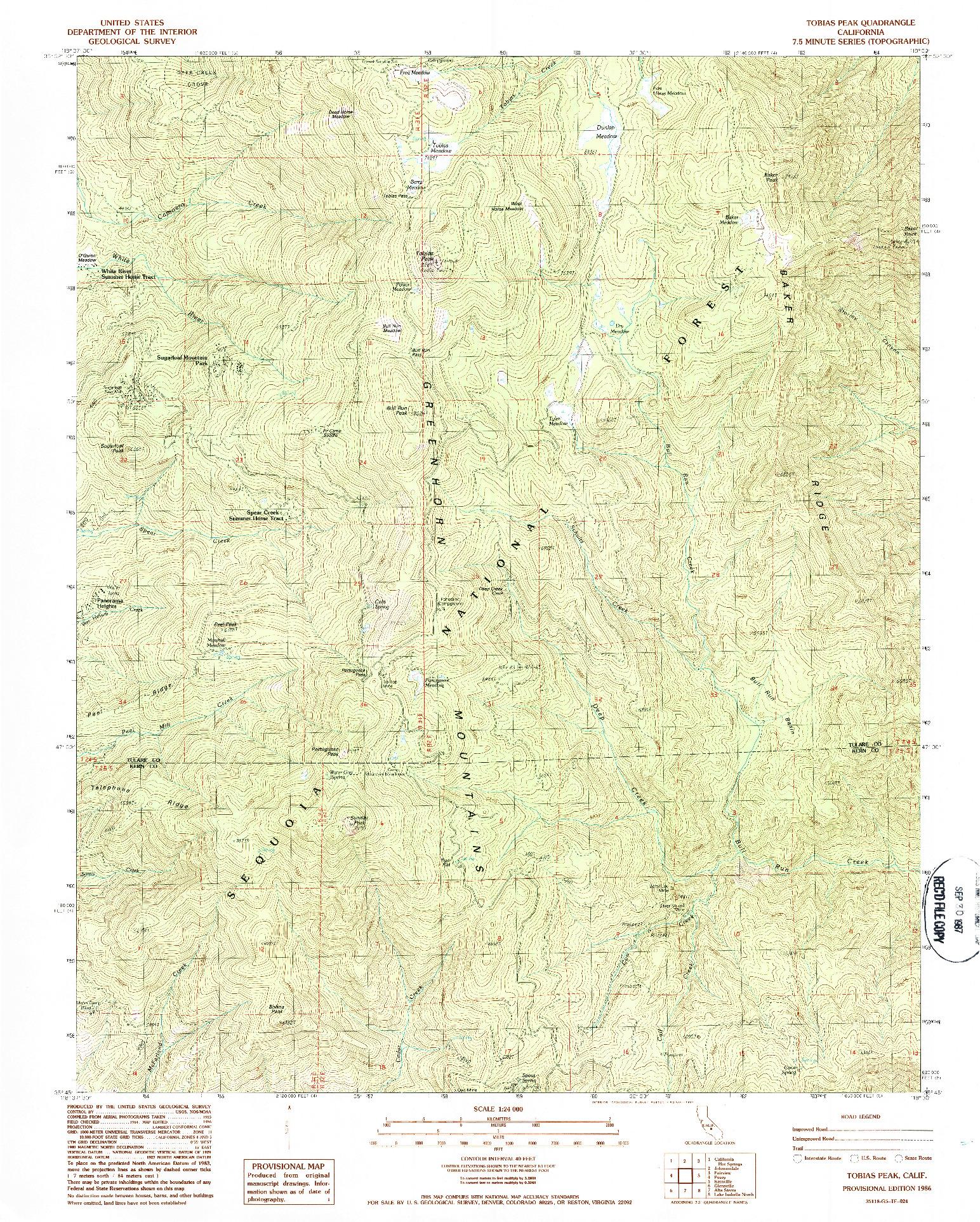 USGS 1:24000-SCALE QUADRANGLE FOR TOBIAS PEAK, CA 1986