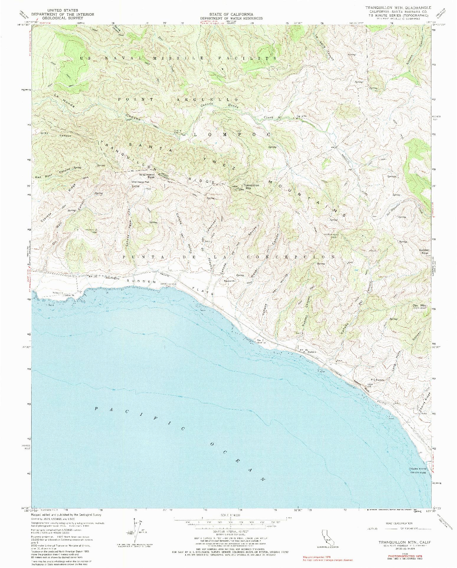 USGS 1:24000-SCALE QUADRANGLE FOR TRANQUILLON MTN, CA 1959