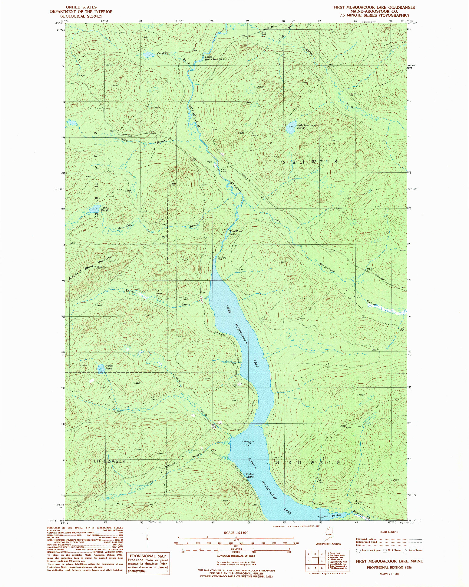 USGS 1:24000-SCALE QUADRANGLE FOR FIRST MUSQUACOOK LAKE, ME 1986