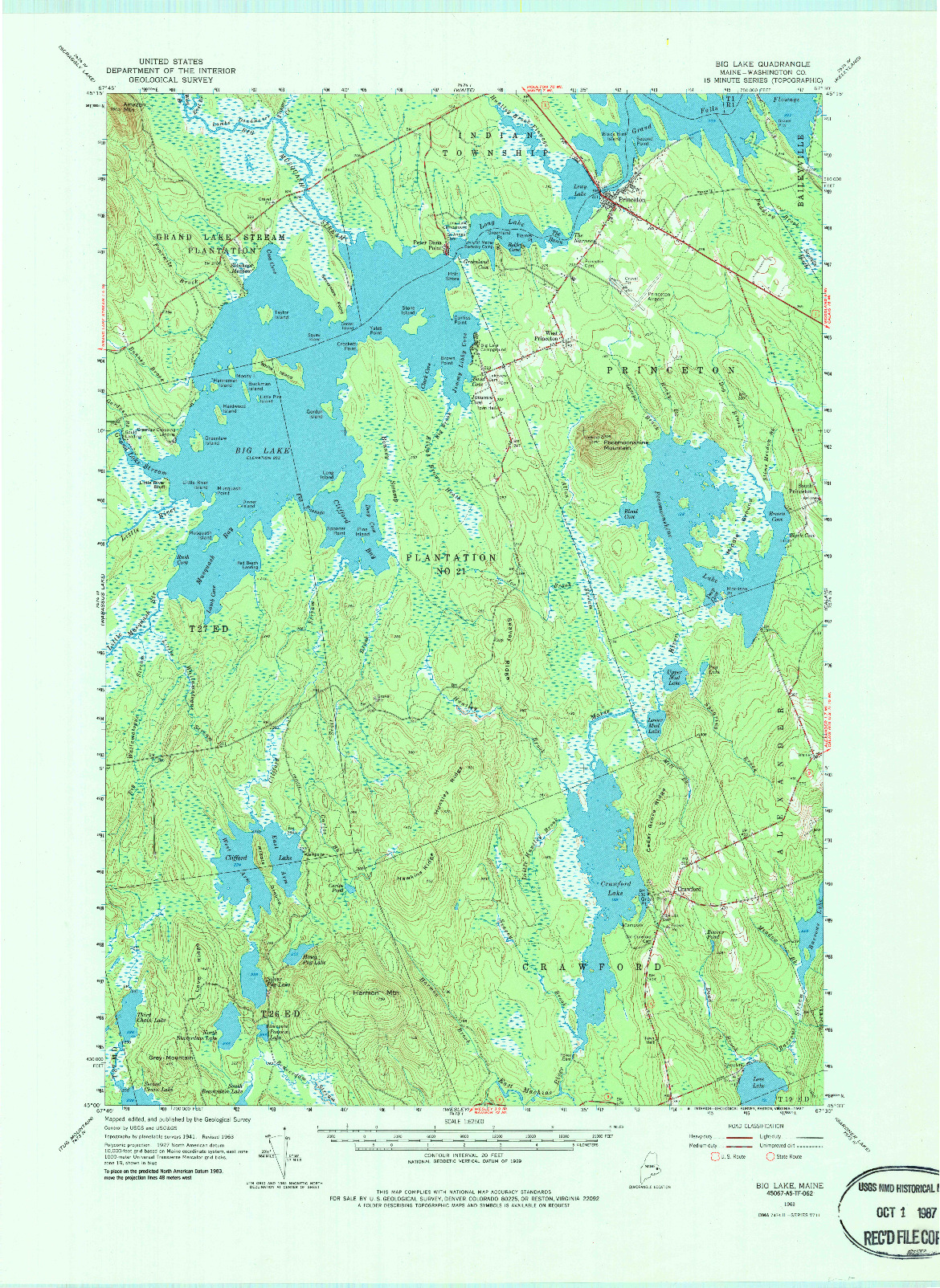 USGS 1:62500-SCALE QUADRANGLE FOR BIG LAKE, ME 1963