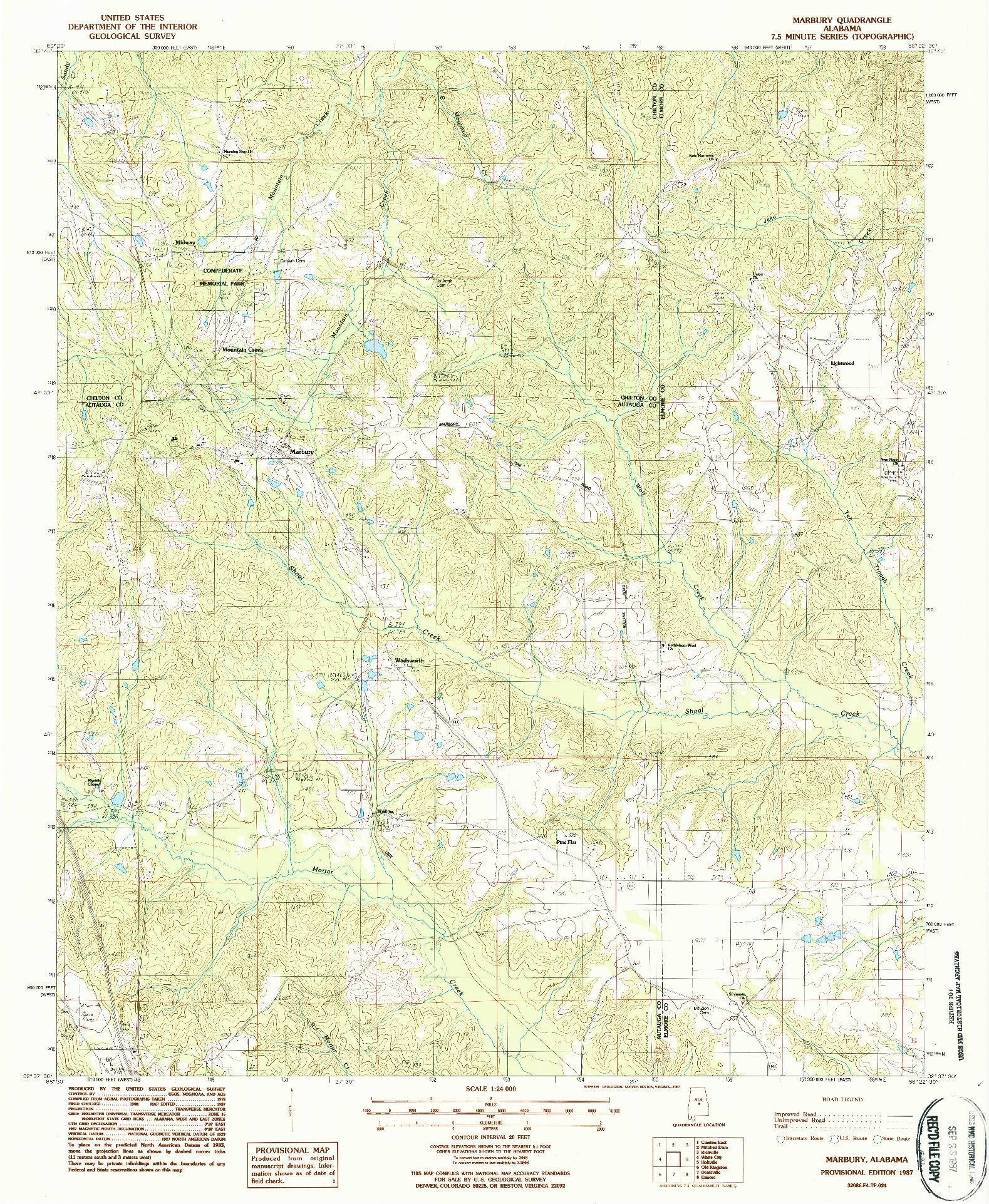USGS 1:24000-SCALE QUADRANGLE FOR MARBURY, AL 1987