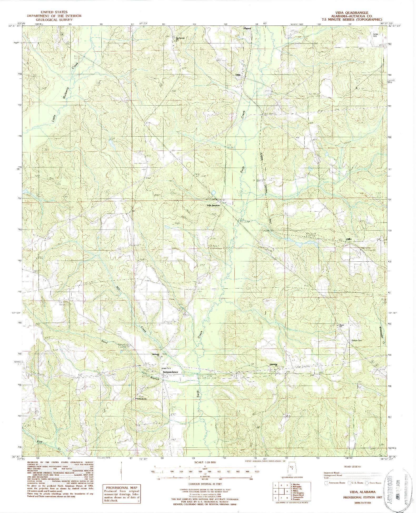 USGS 1:24000-SCALE QUADRANGLE FOR VIDA, AL 1987