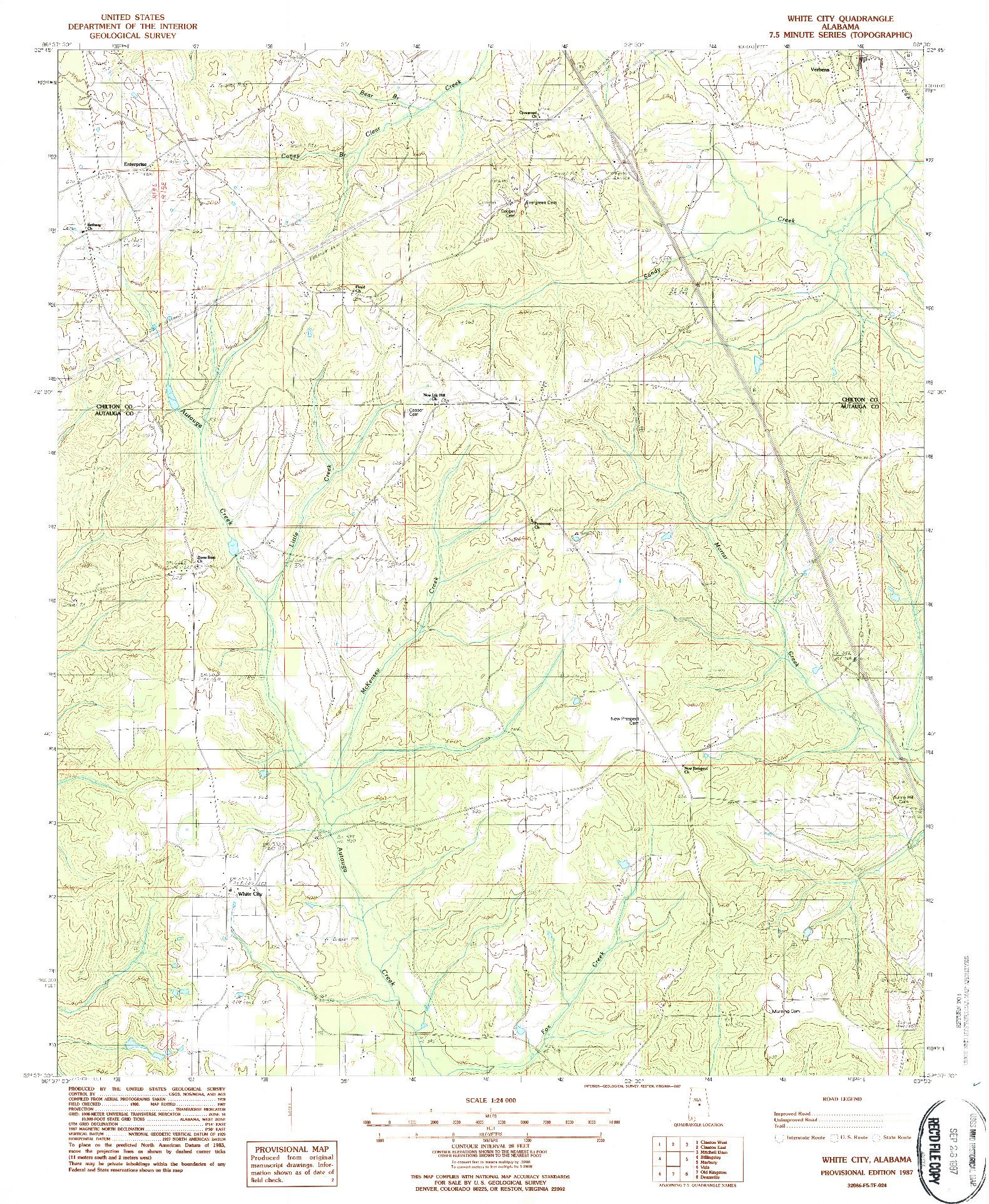 USGS 1:24000-SCALE QUADRANGLE FOR WHITE CITY, AL 1987