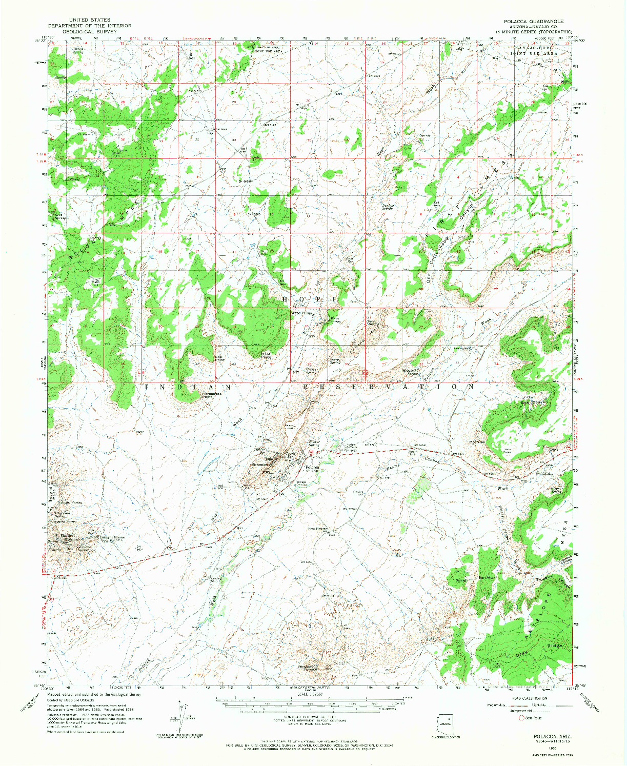 USGS 1:62500-SCALE QUADRANGLE FOR POLACCA, AZ 1966
