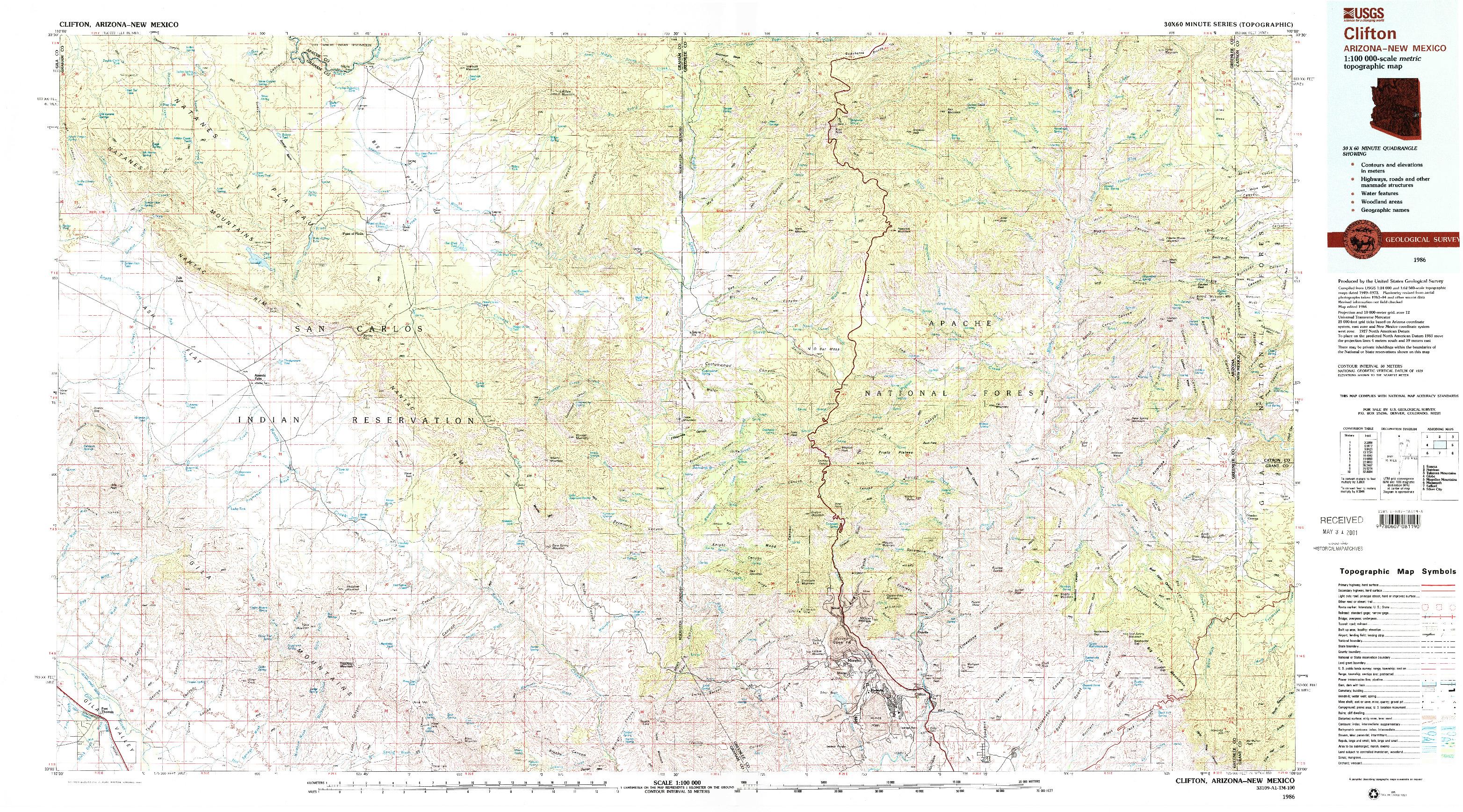 USGS 1:100000-SCALE QUADRANGLE FOR CLIFTON, AZ 1986