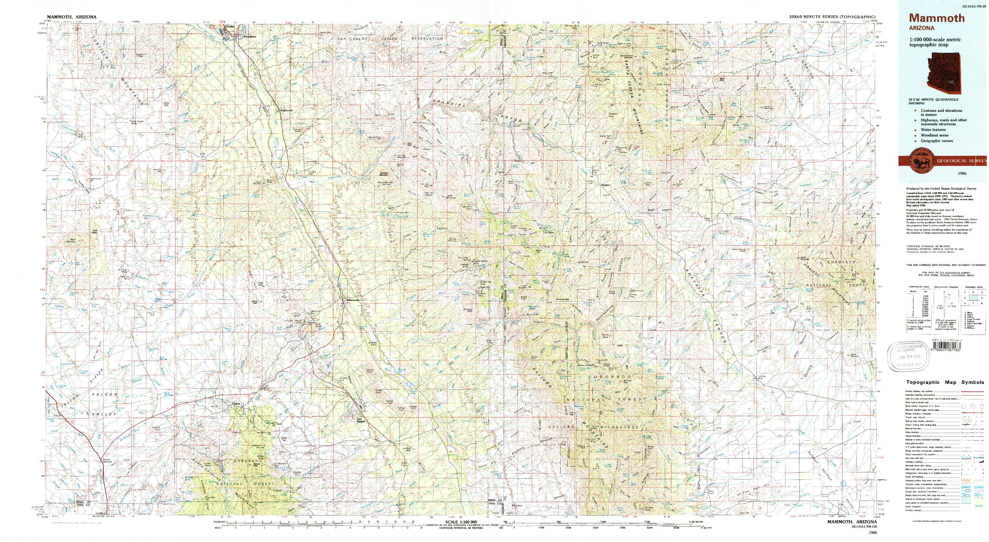 USGS 1:100000-SCALE QUADRANGLE FOR MAMMOTH, AZ 1986