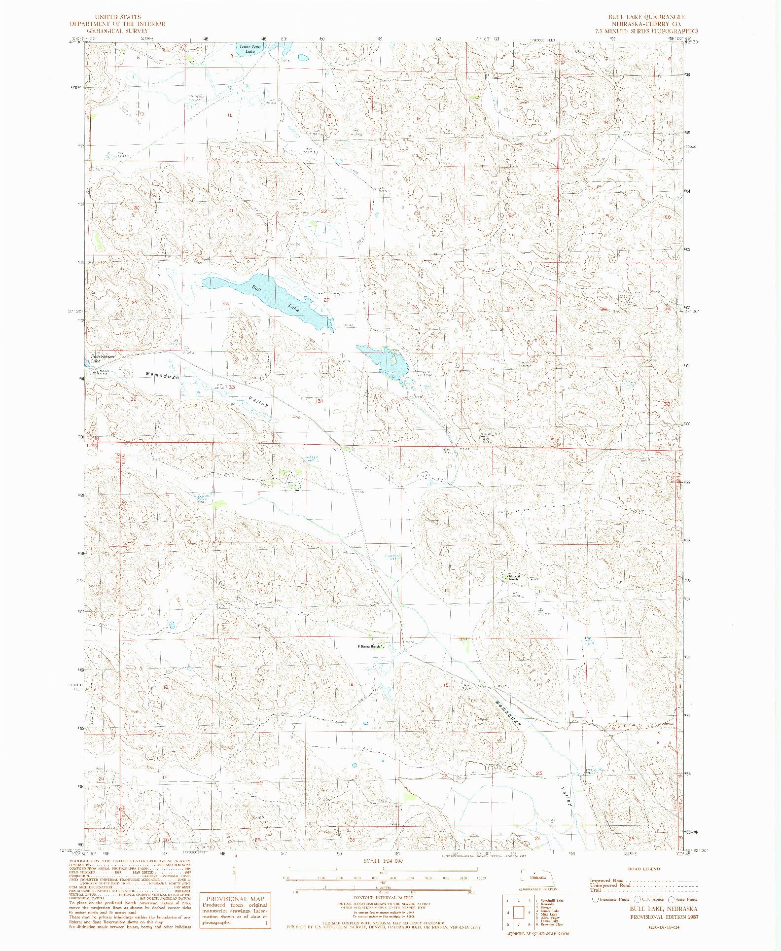 USGS 1:24000-SCALE QUADRANGLE FOR BULL LAKE, NE 1987