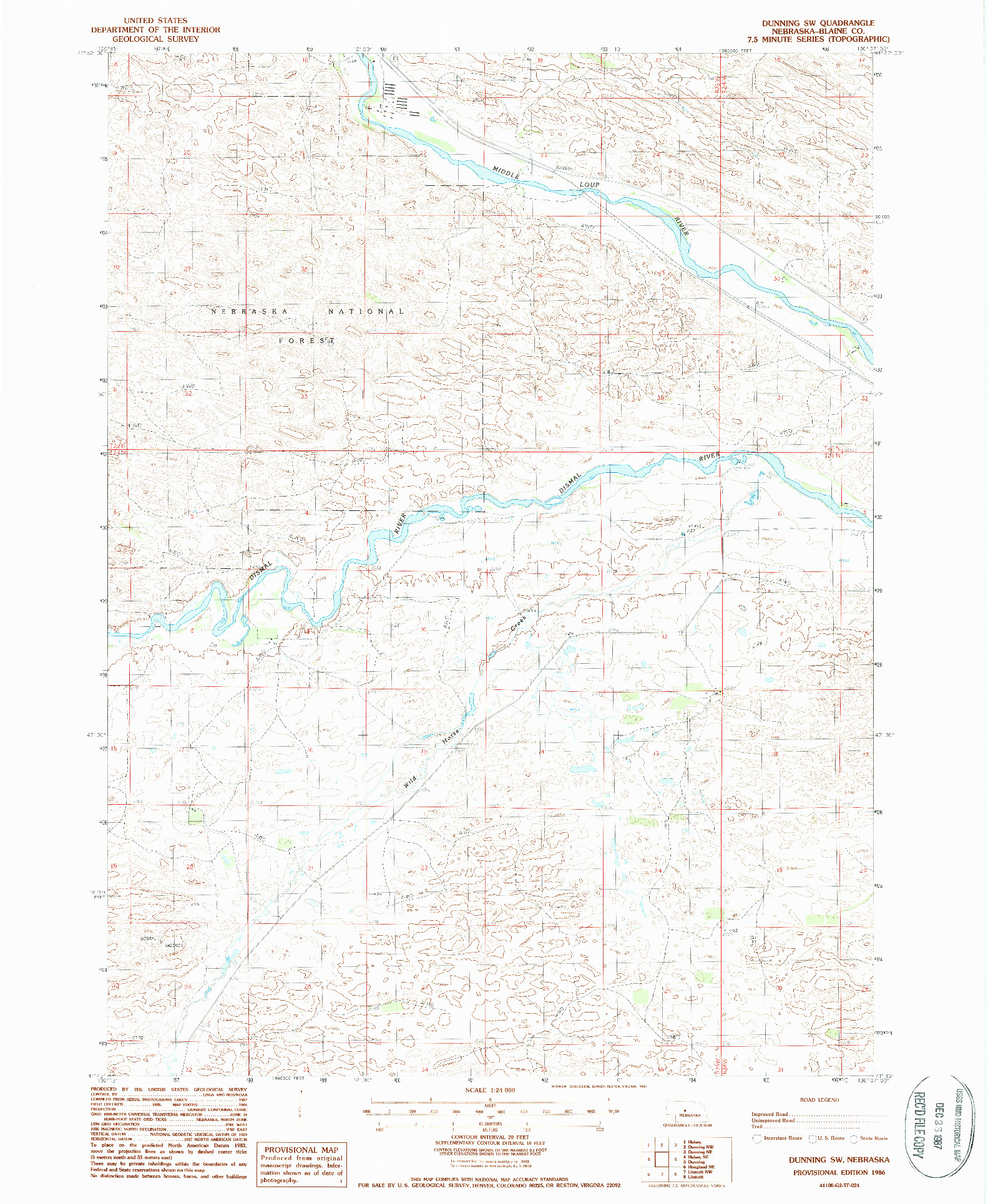 USGS 1:24000-SCALE QUADRANGLE FOR DUNNING SW, NE 1986