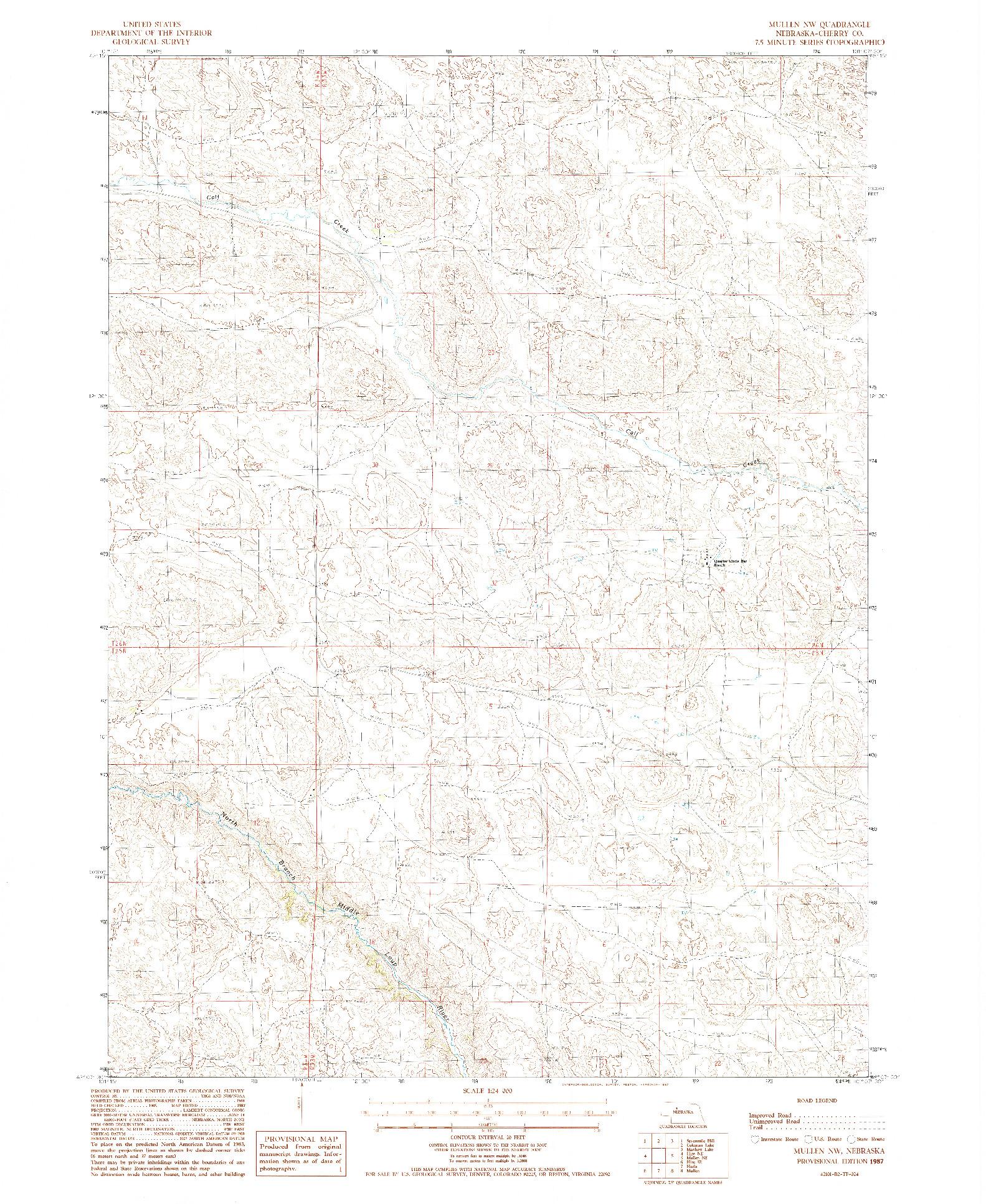 USGS 1:24000-SCALE QUADRANGLE FOR MULLEN NW, NE 1987