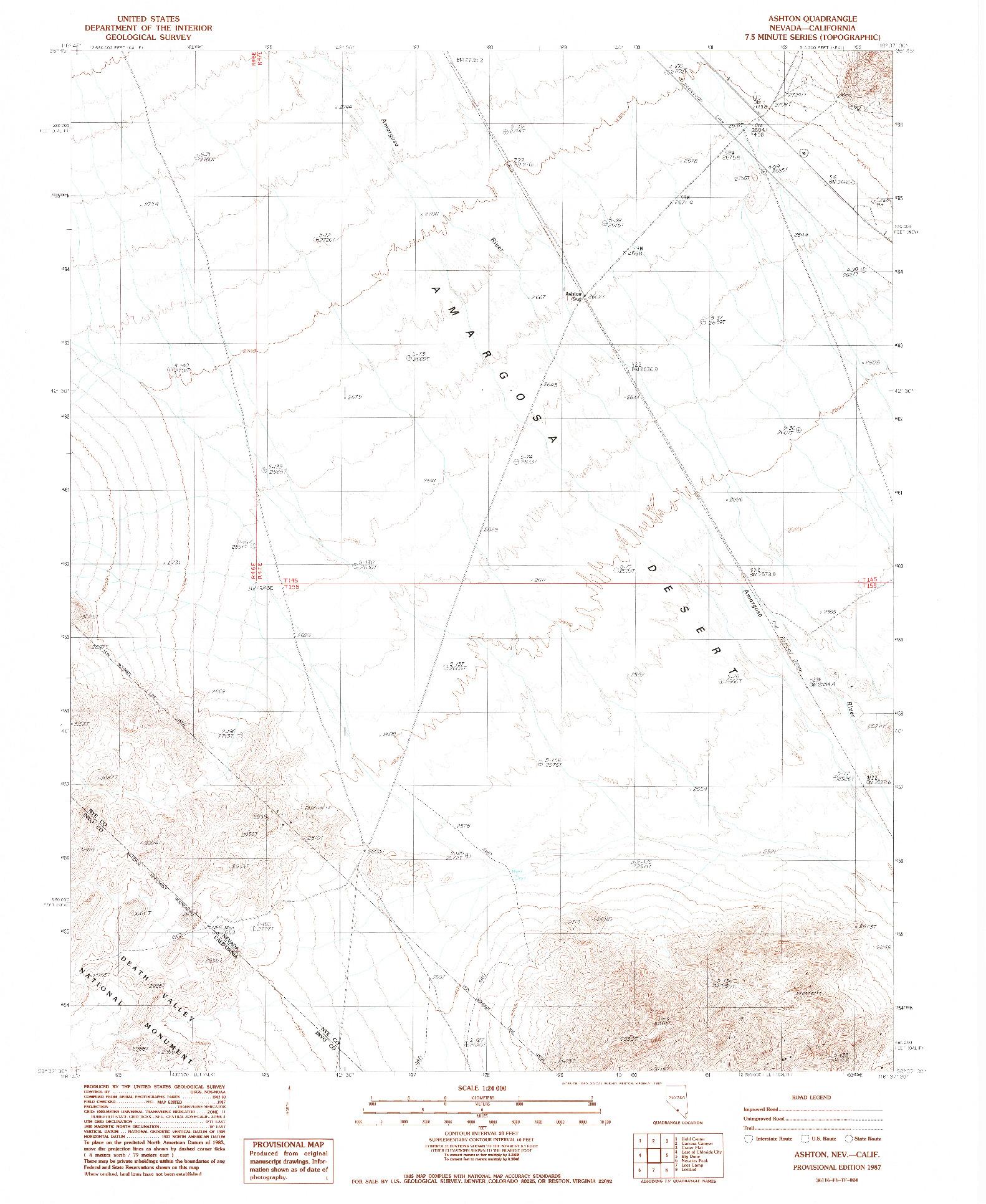 USGS 1:24000-SCALE QUADRANGLE FOR ASHTON, NV 1987