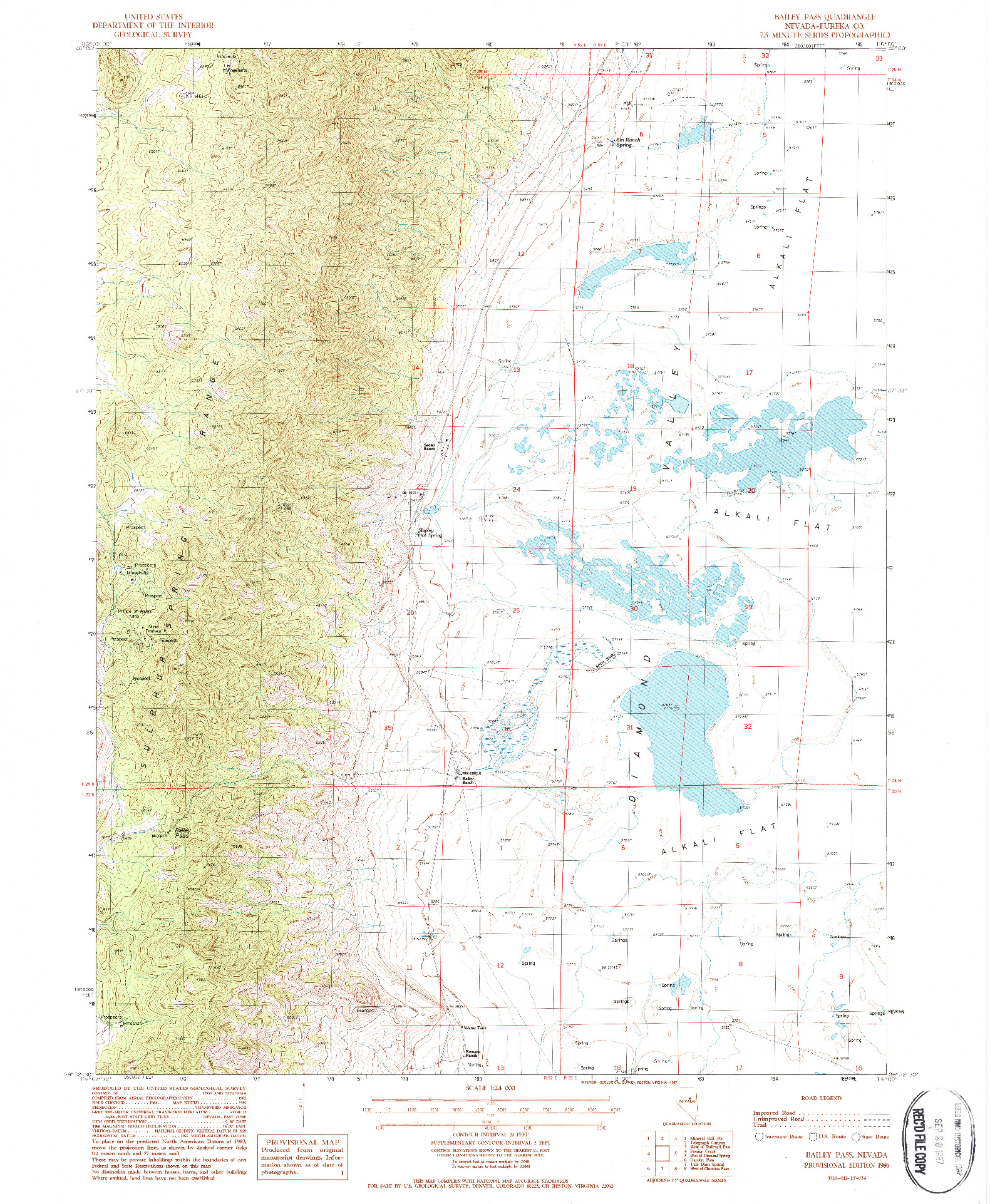 USGS 1:24000-SCALE QUADRANGLE FOR BAILEY PASS, NV 1986