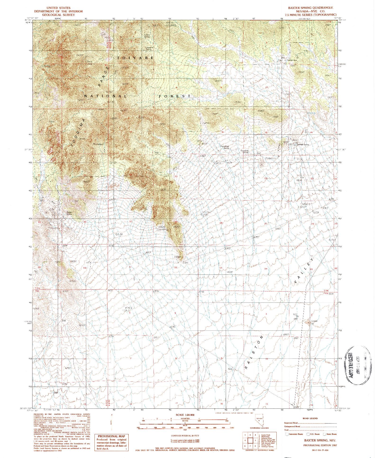 USGS 1:24000-SCALE QUADRANGLE FOR BAXTER SPRING, NV 1987