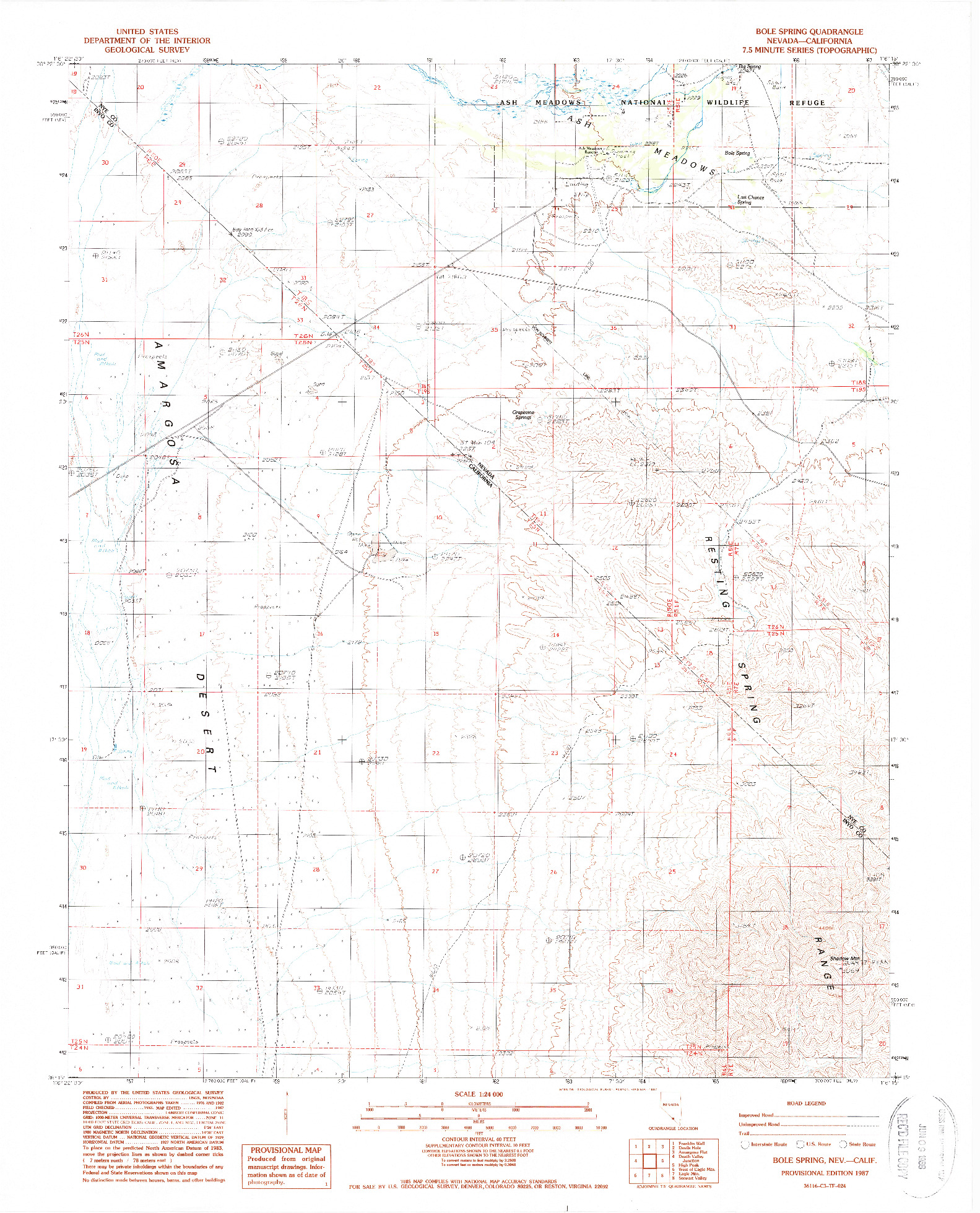 USGS 1:24000-SCALE QUADRANGLE FOR BOLE SPRING, NV 1987