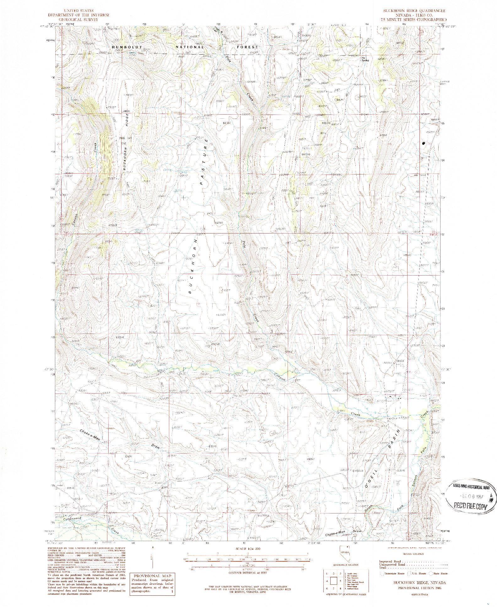 USGS 1:24000-SCALE QUADRANGLE FOR BUCKHORN RIDGE, NV 1986