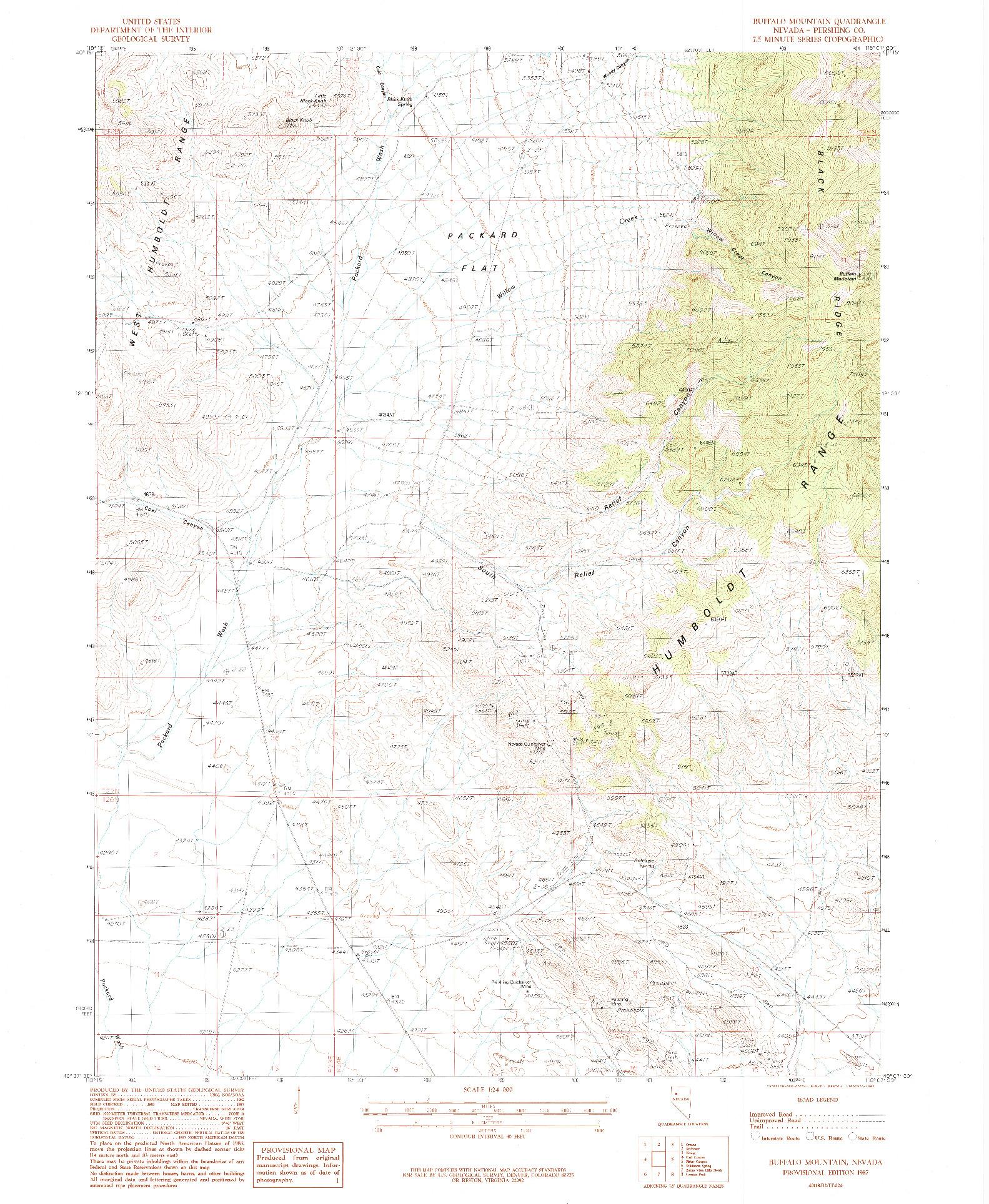 USGS 1:24000-SCALE QUADRANGLE FOR BUFFALO MOUNTAIN, NV 1987