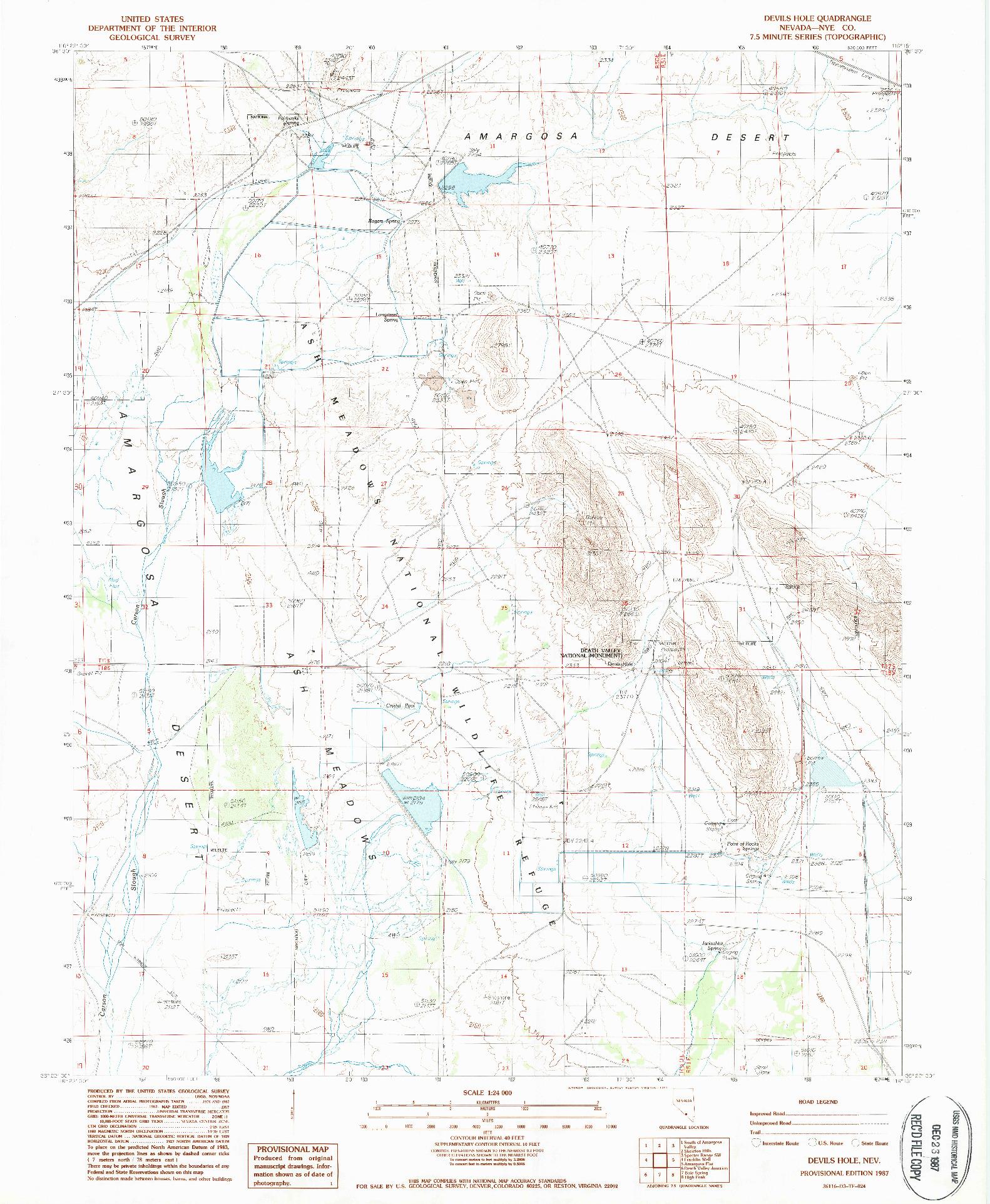 USGS 1:24000-SCALE QUADRANGLE FOR DEVILS HOLE, NV 1987
