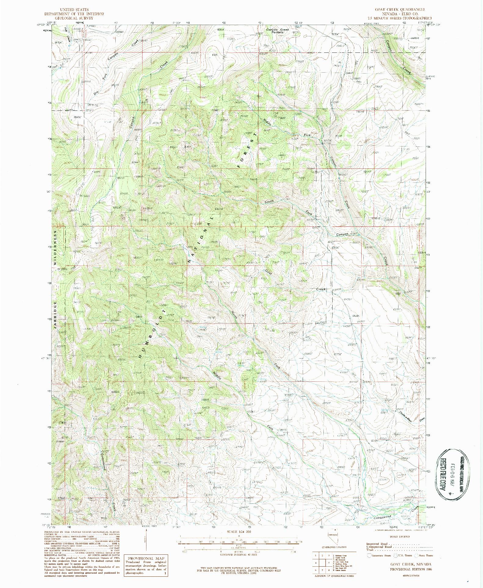 USGS 1:24000-SCALE QUADRANGLE FOR GOAT CREEK, NV 1986