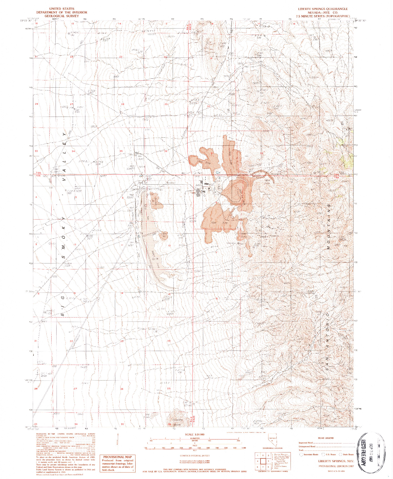 USGS 1:24000-SCALE QUADRANGLE FOR LIBERTY SPRINGS, NV 1987
